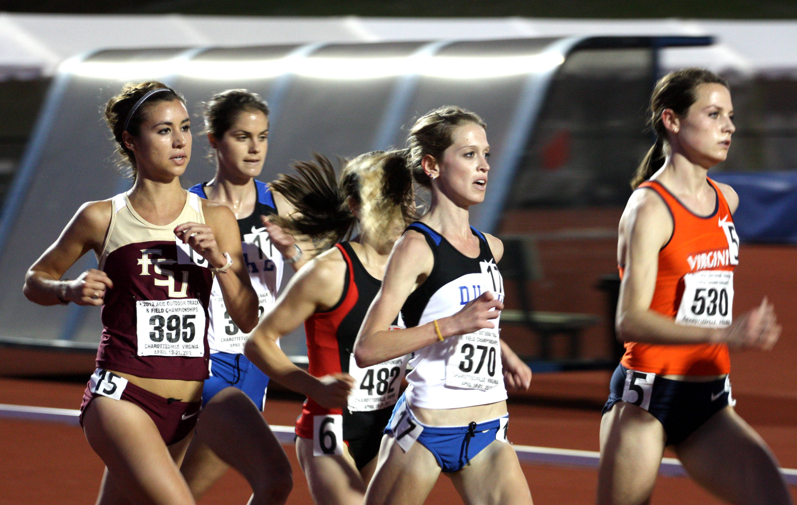 Kayleigh Tyerman settles into the front pack in the 10,000-meter run at the ACC Championships, where she finished fifth.