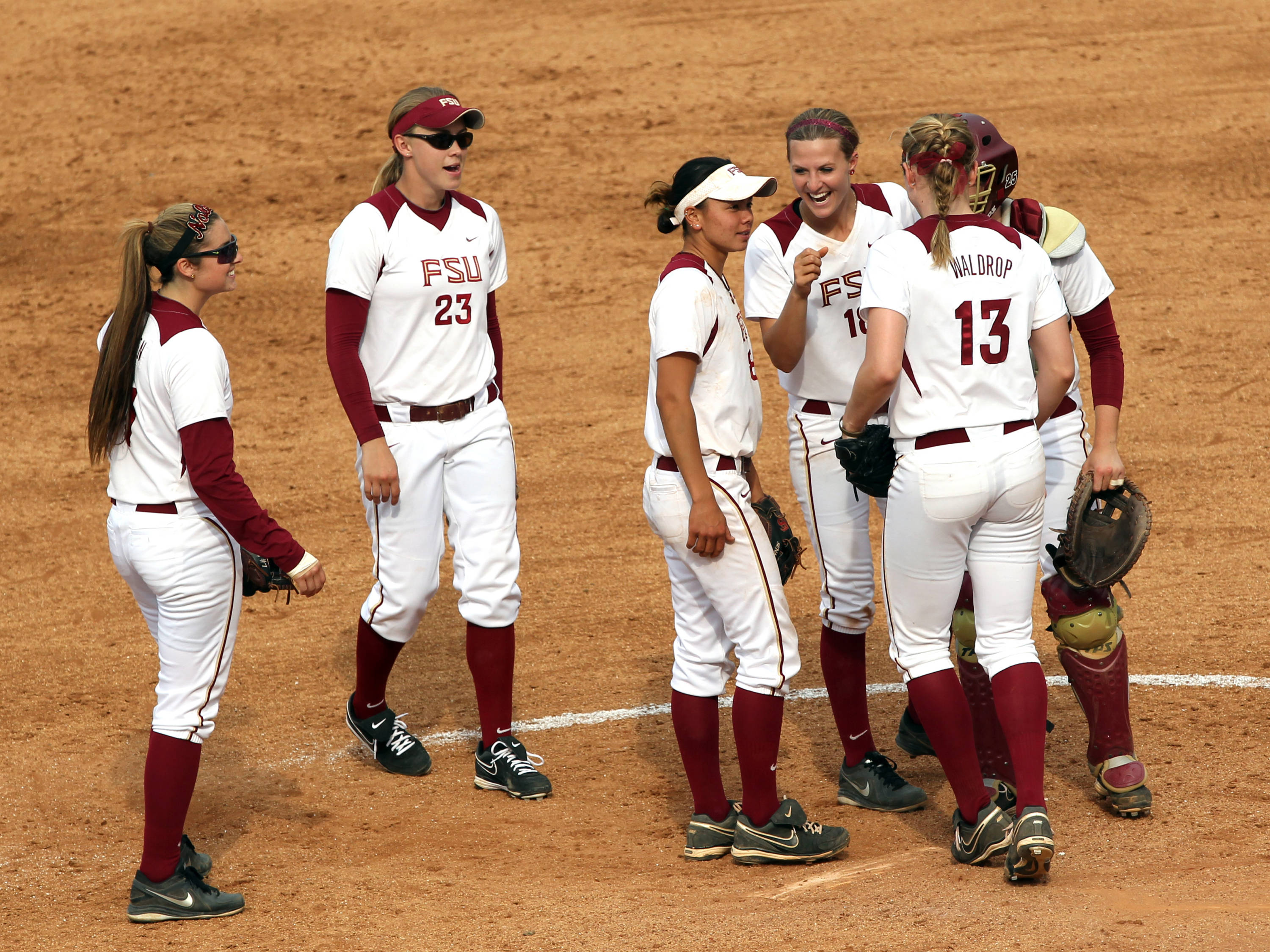 Celebrating a great play, FSU VS NC, ACC Championship Semifinals, Tallahassee, FL,  05/10/13 . (Photo by Steve Musco)