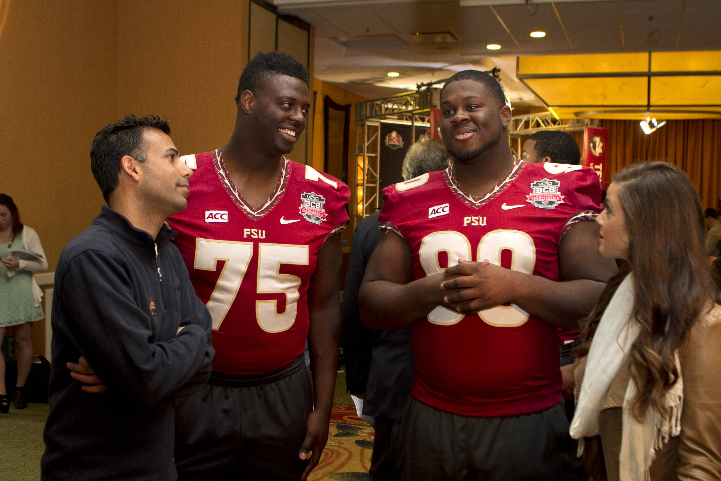 Cameron Erving (75) and Eddie Goldman (90), FSU at BCS Championship Press Conference,  1-04-14,  (Photo by Steve Musco)