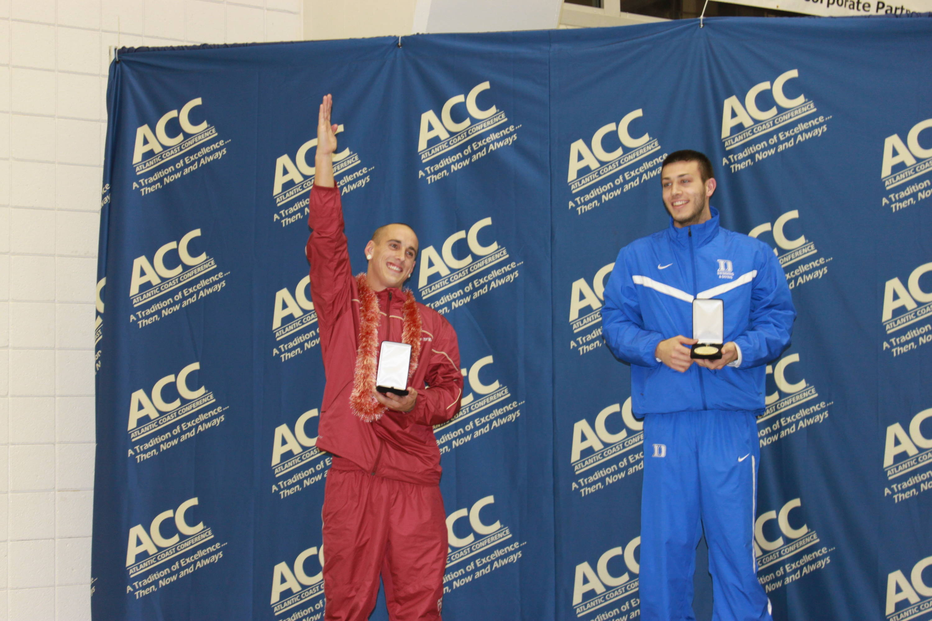 Landon Marzullo celebrates a second-place finish on the one-meter.