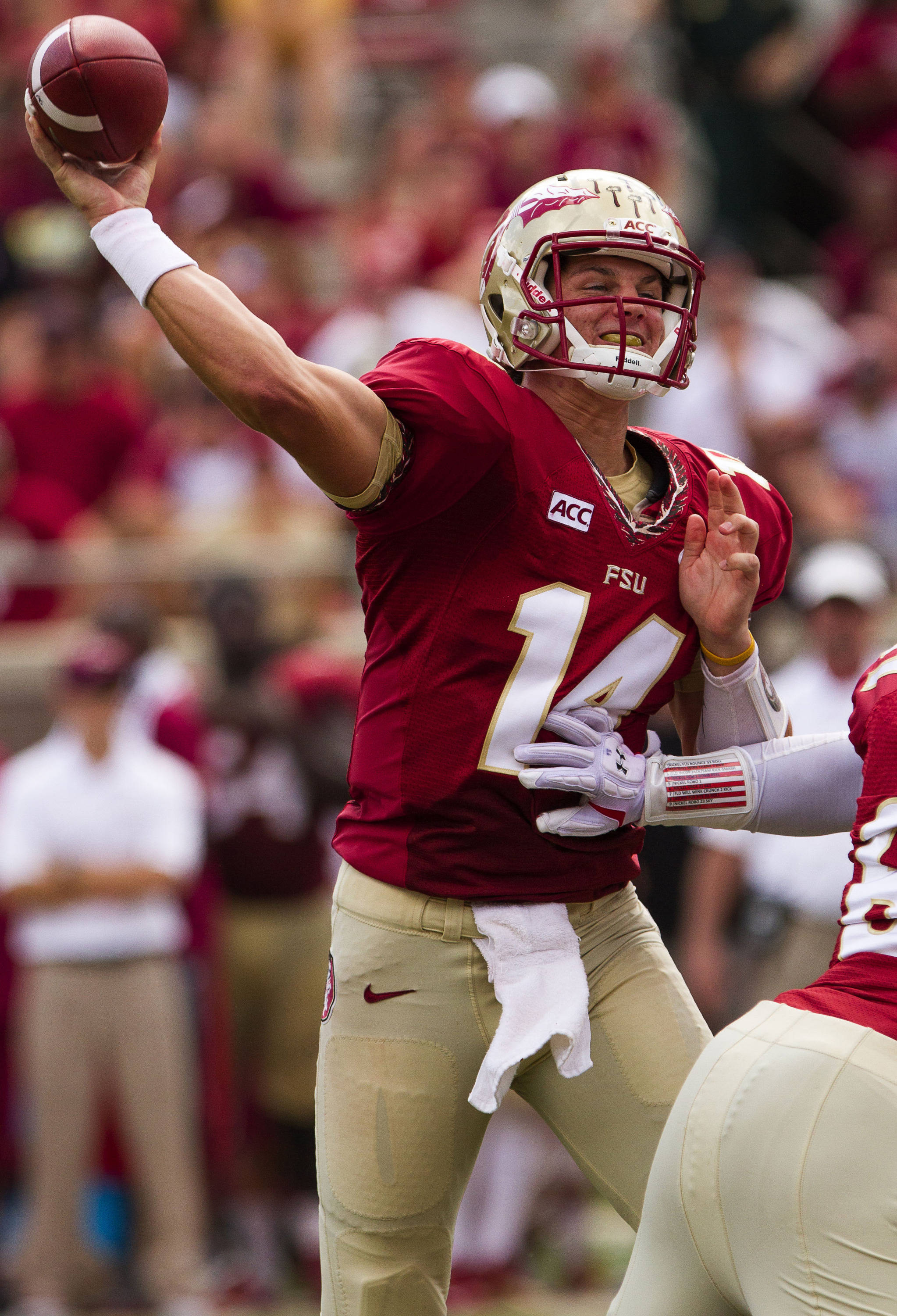 Jacob Coker (14) makes a pass during FSU Football's 63-0 shutout of Maryland on Saturday, October 5, 2013 in Tallahassee, Fla.