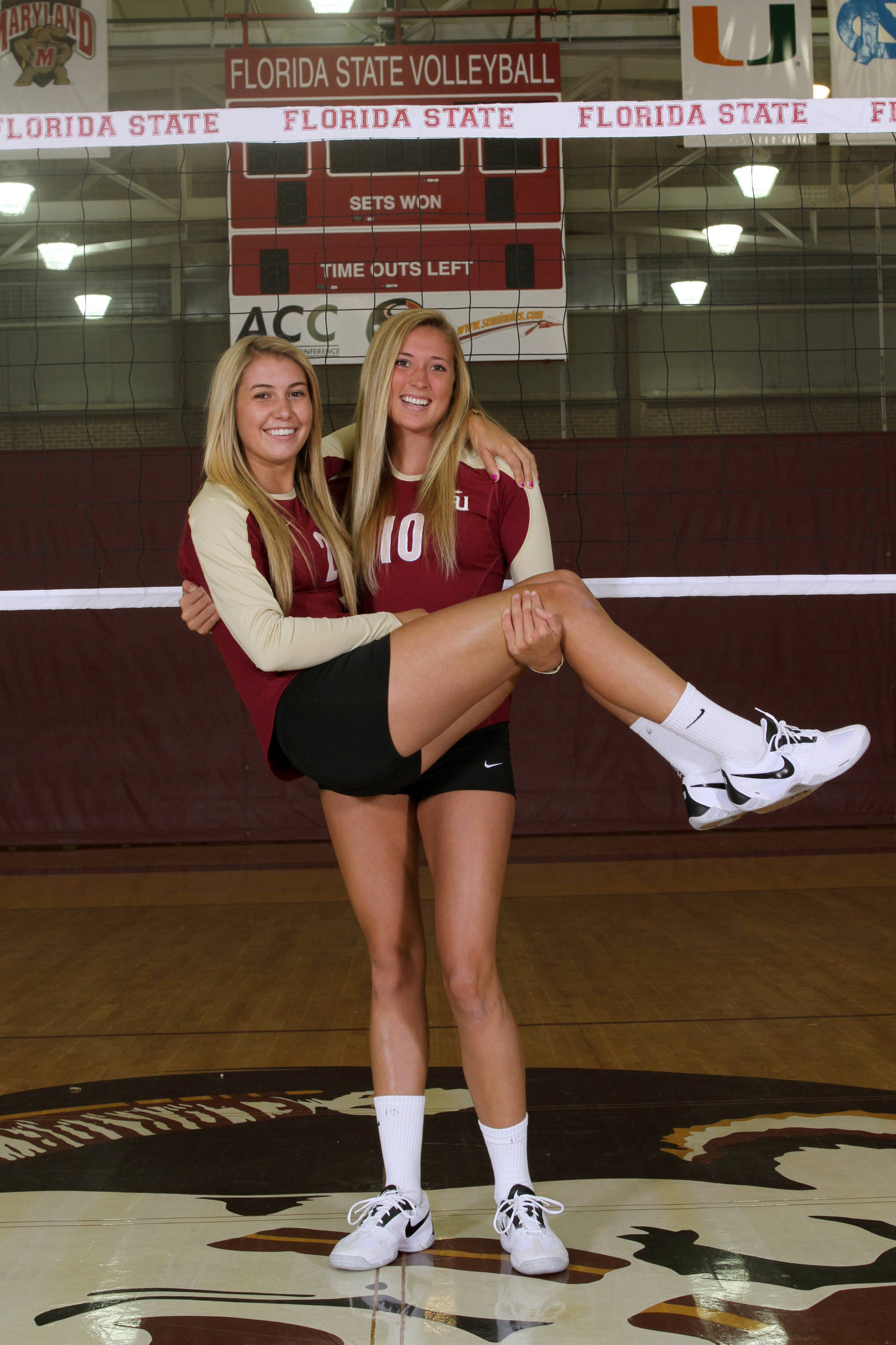Redshirt freshman Katie Mosher and true freshman Sarah Wickstrom seem to get along pretty well!
