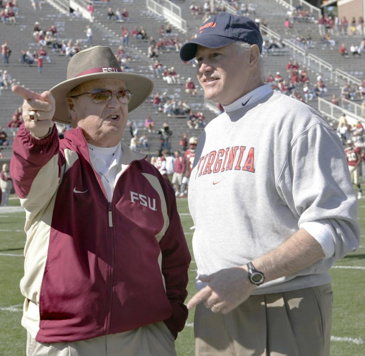 Florida State head coach Bobby Bowden, left, talks with Virginia head coach Al Groh prior to the start of their college football game, Satuday, Nov. 4, 2006, in Tallahassee, Fla. (AP Photo/Steve Cannon)