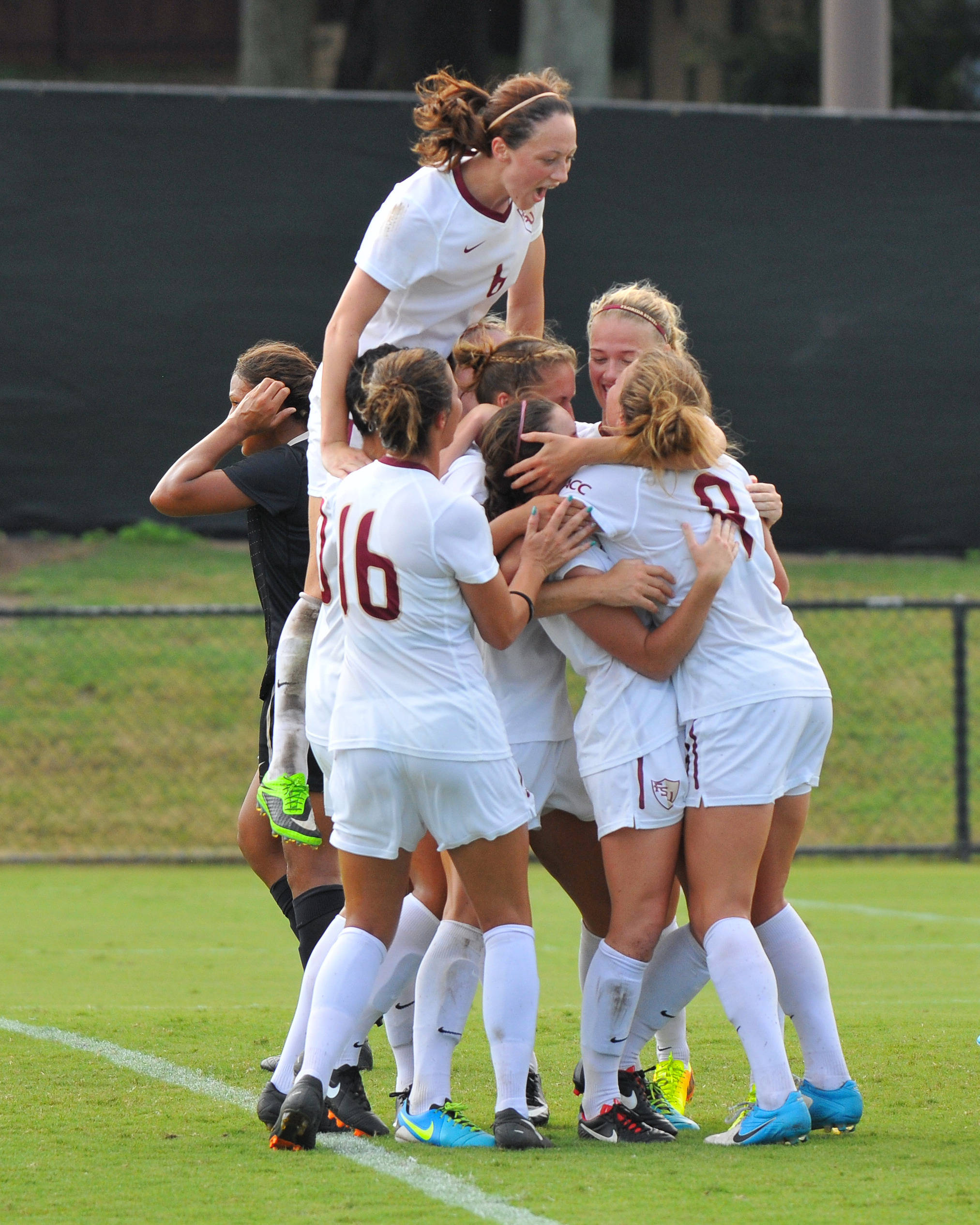 The Seminole celebrate after Crowley's game-winning goal in the first overtime period.