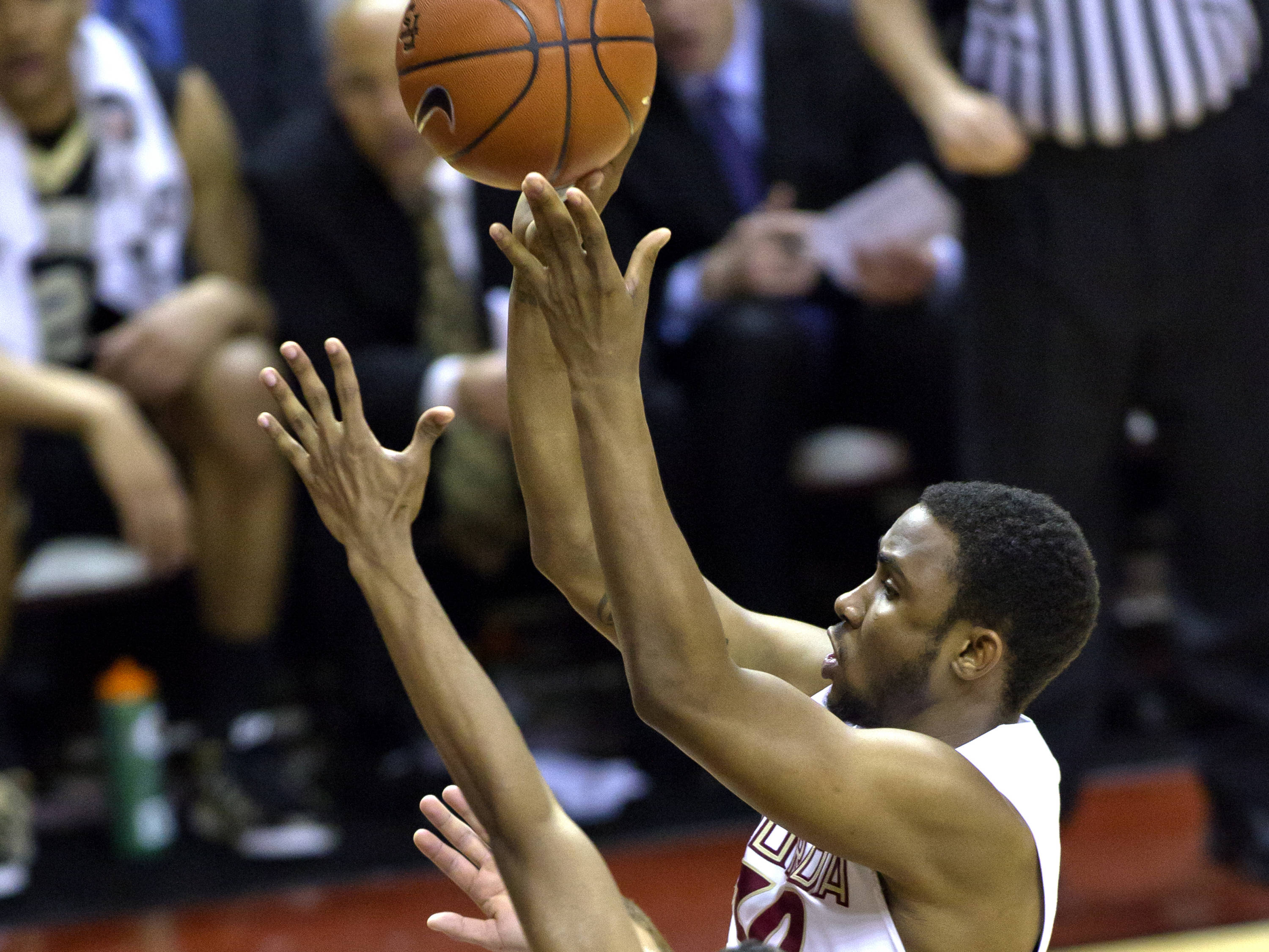Ian Miller (30), FSU vs Wake Forest, 02/26/13. (Photo by Steve Musco)