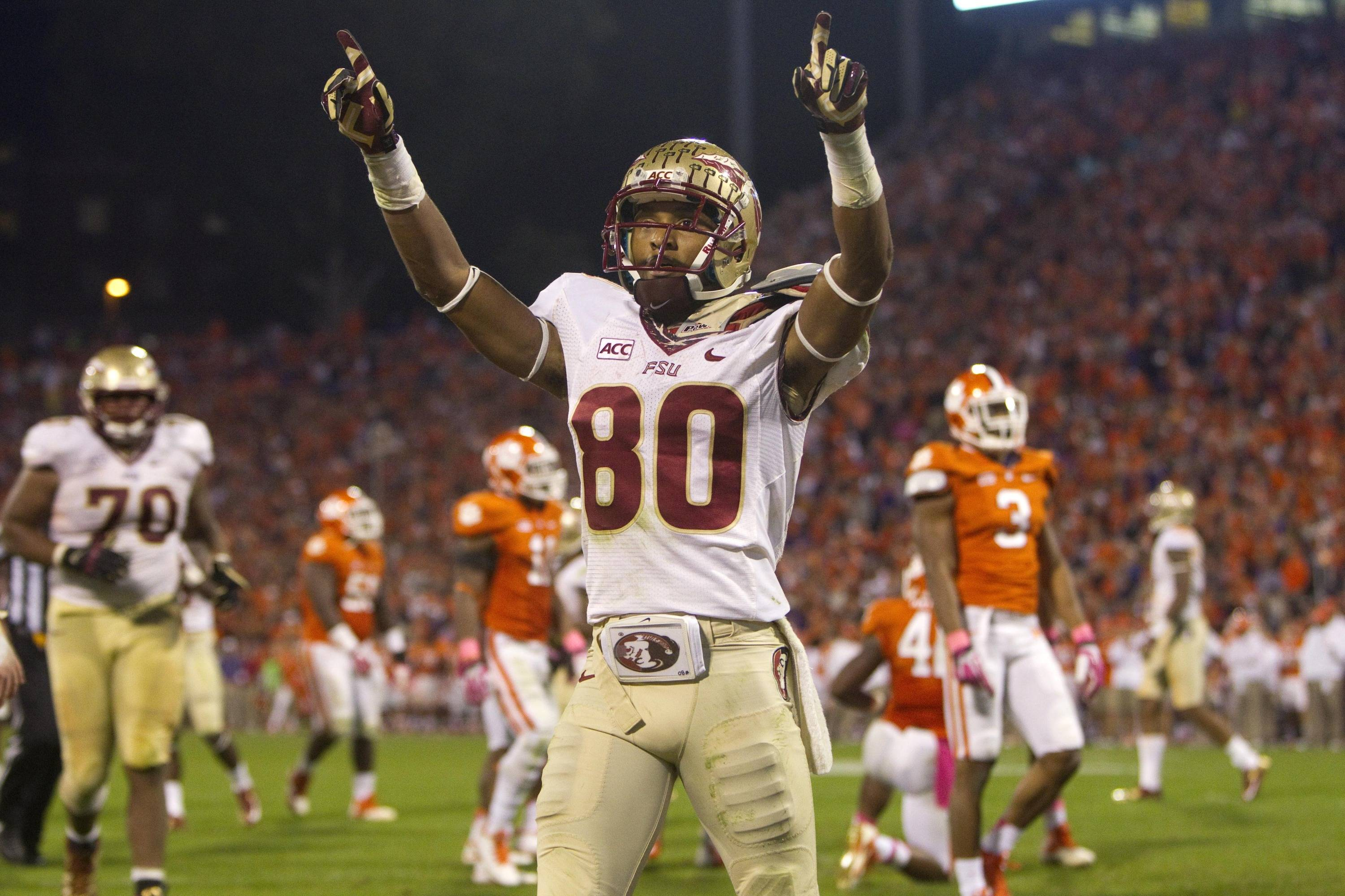 Rashad Greene (80) celebrates after scoring a touchdown. (Joshua S. Kelly-USA TODAY Sports)