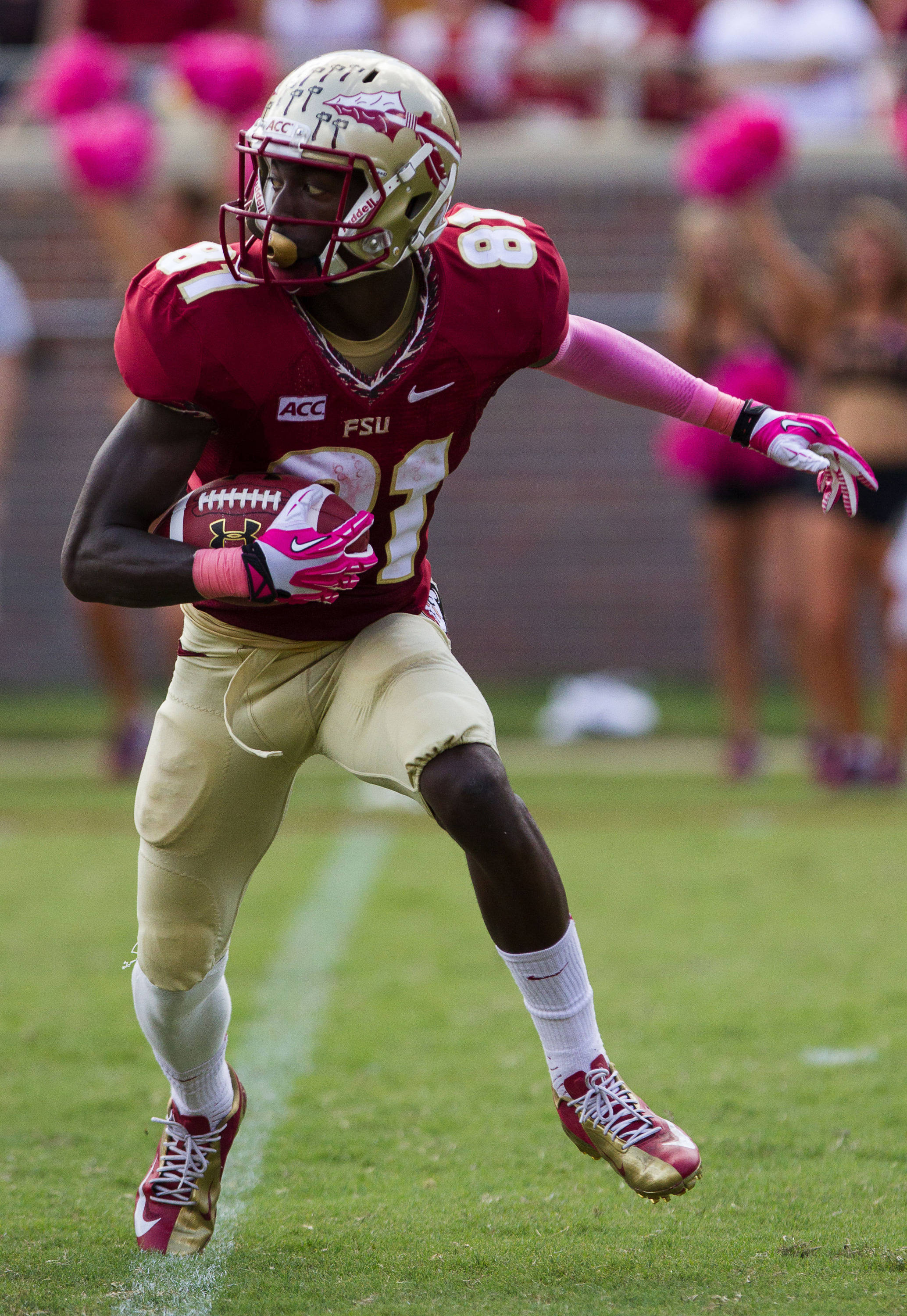 Kenny Shaw (81) runs with the ballduring FSU Football's 63-0 shutout of Maryland on Saturday, October 5, 2013 in Tallahassee, Fla.