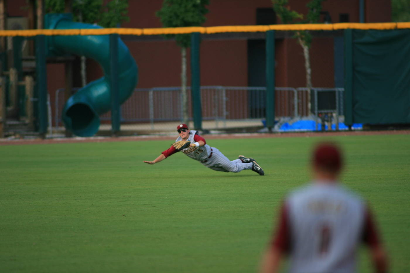 Tyler Holt makes a diving catch