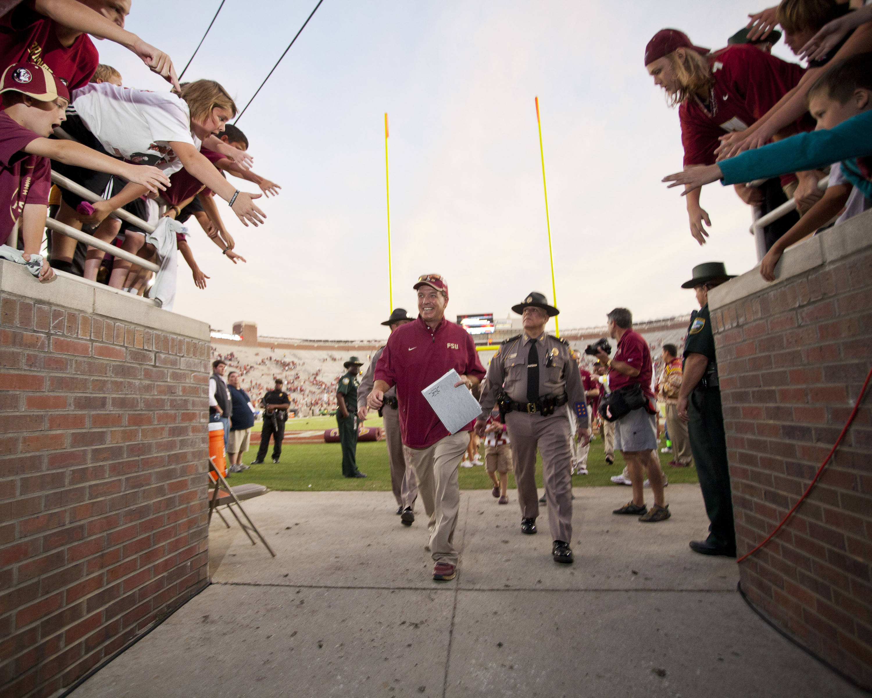 Jimbo Fisher walks off the field after FSU's 48-7 victory over Duke on October 27, 2012 in Tallahassee, Fla.