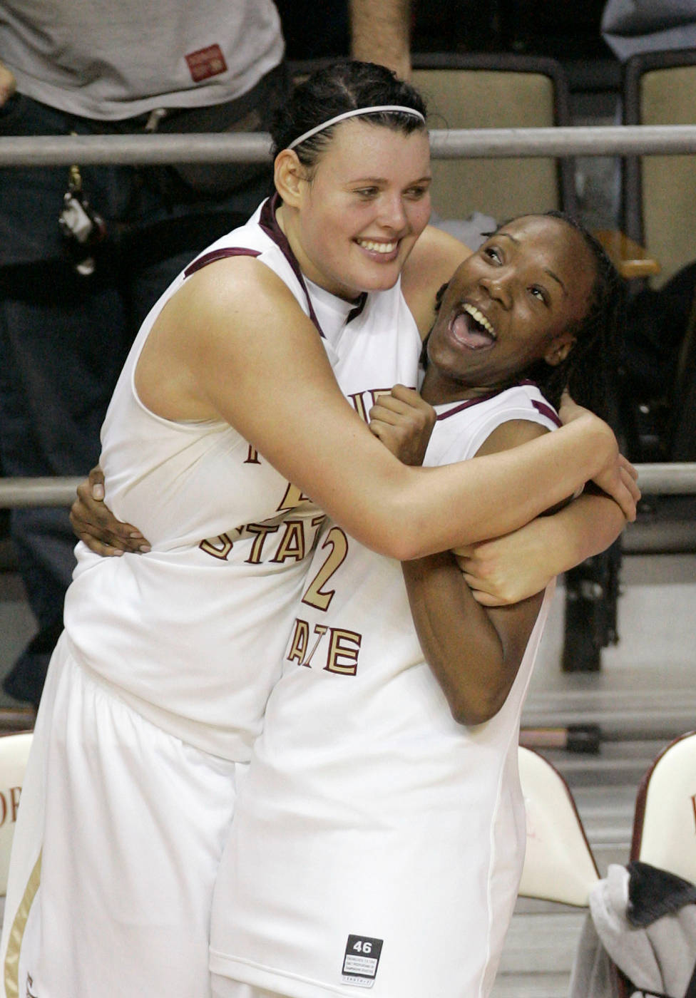Florida State's Cierra Bravard, left, and teammate Alysha Harvin, celebrate their 82-75 win over Duke during an NCAA college basketball game, Thursday, Jan. 29, 2009, in Tallahassee, Fla. (AP Photo/Phil Coale)