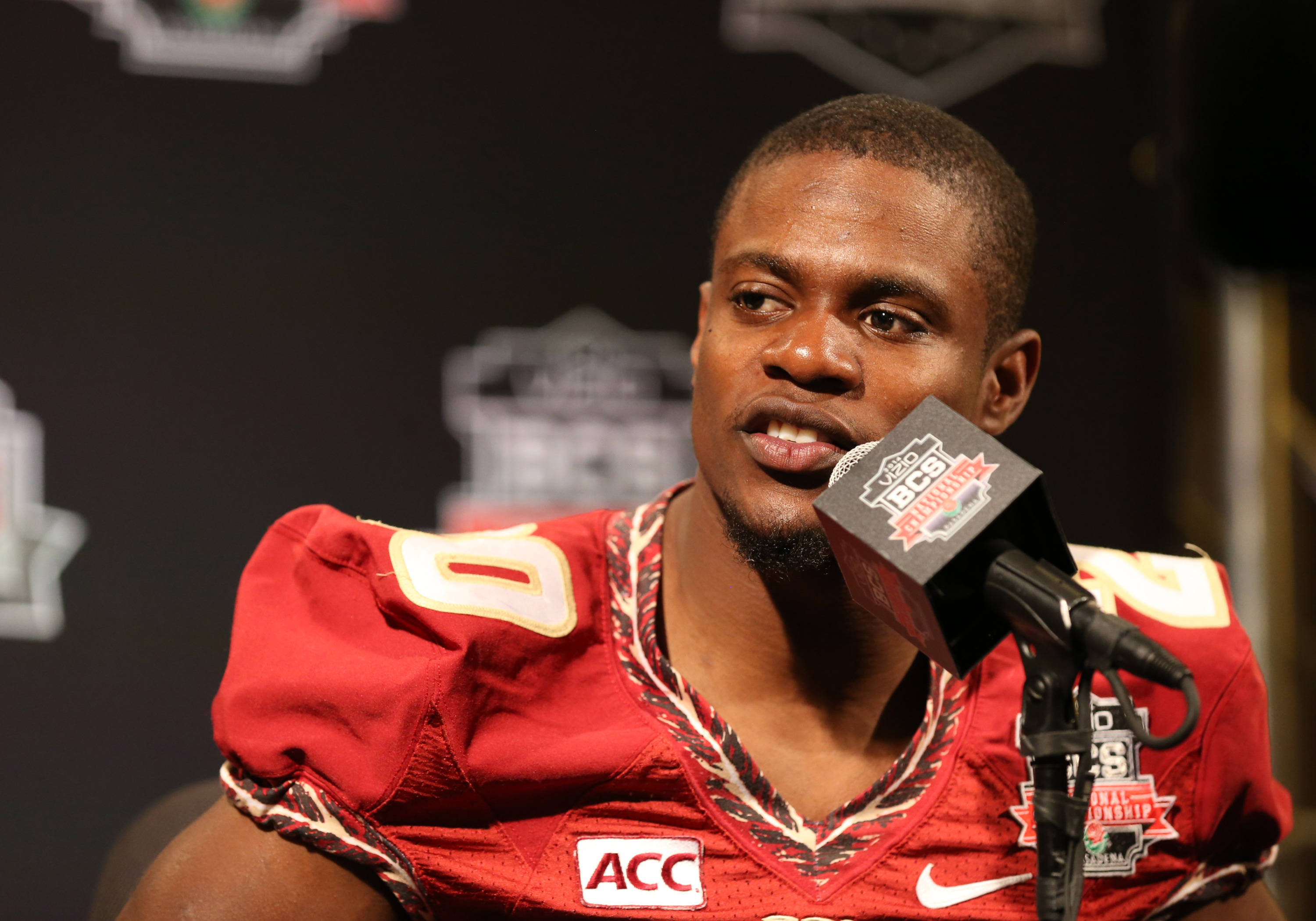 Jan 4, 2014; Newport Beach, CA, USA; Seminoles defensive back Lamarcus Joyner (20) answers questions during Media Day at Newport Beach Marriott. Matthew Emmons-USA TODAY Sports