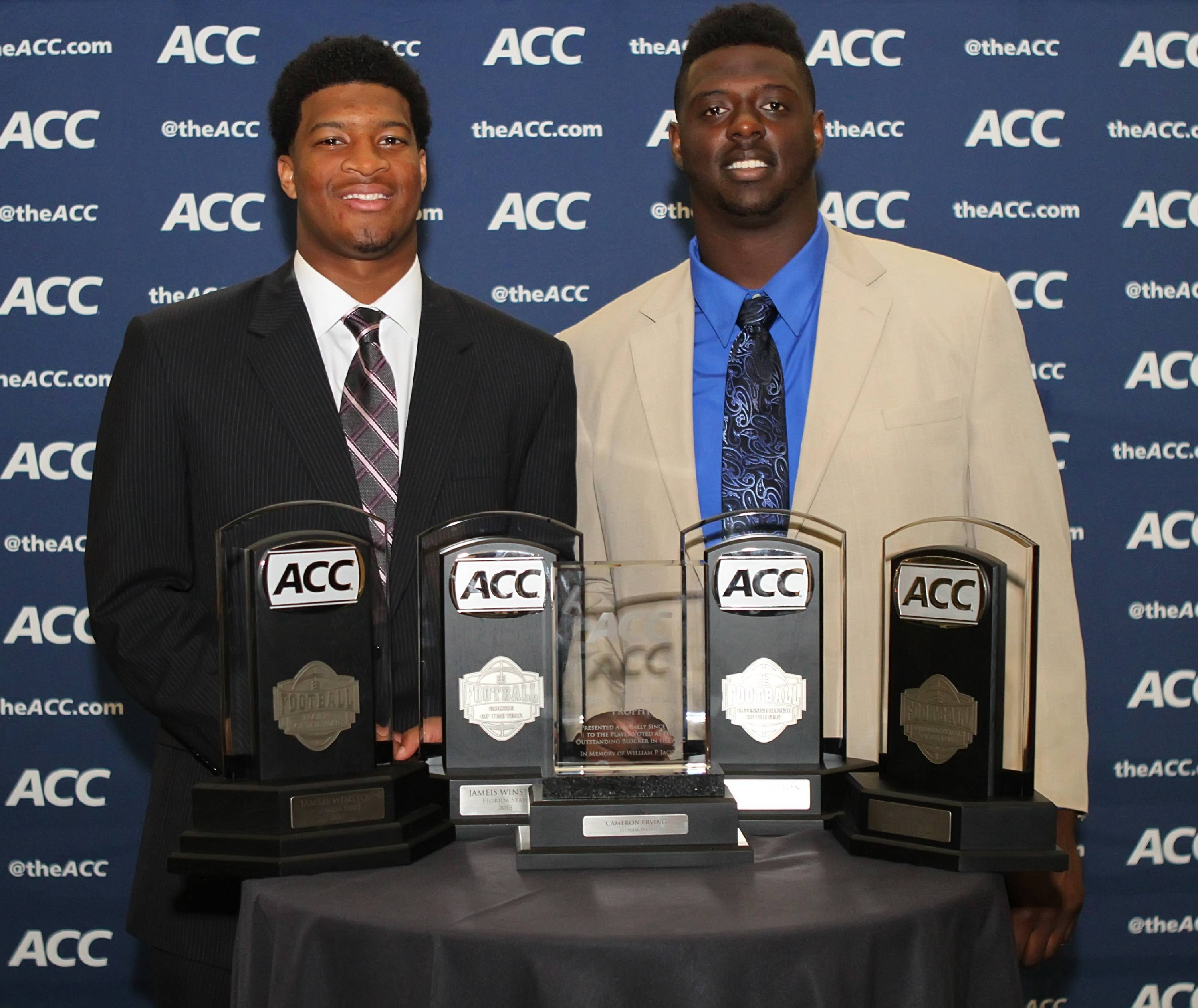 Jameis Winston and Cam Erving at the ACC Night of Legends