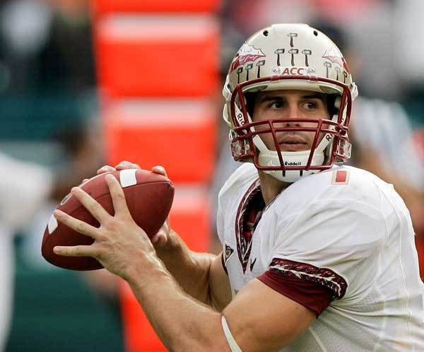 Florida State's Christian Ponder prepares to pass against Miami in the second quarter.