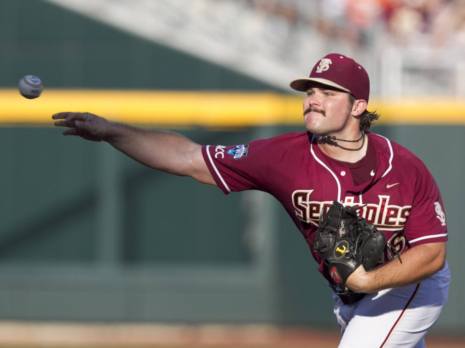Florida State starting pitcher Scott Sitz delivers against UCLA in the first inning. (AP Photo/Nati Harnik)