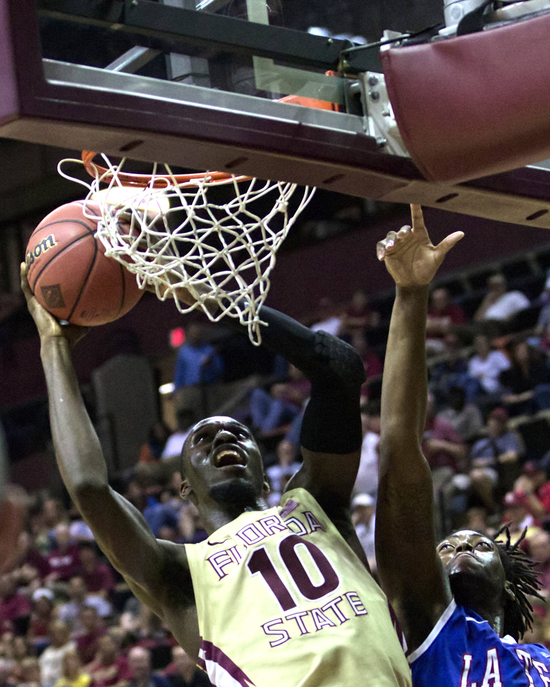 Okaro White (10), NIT First Round, FSU vs Louisiana Tech, 03/19/13 . (Photo by Steve Musco)