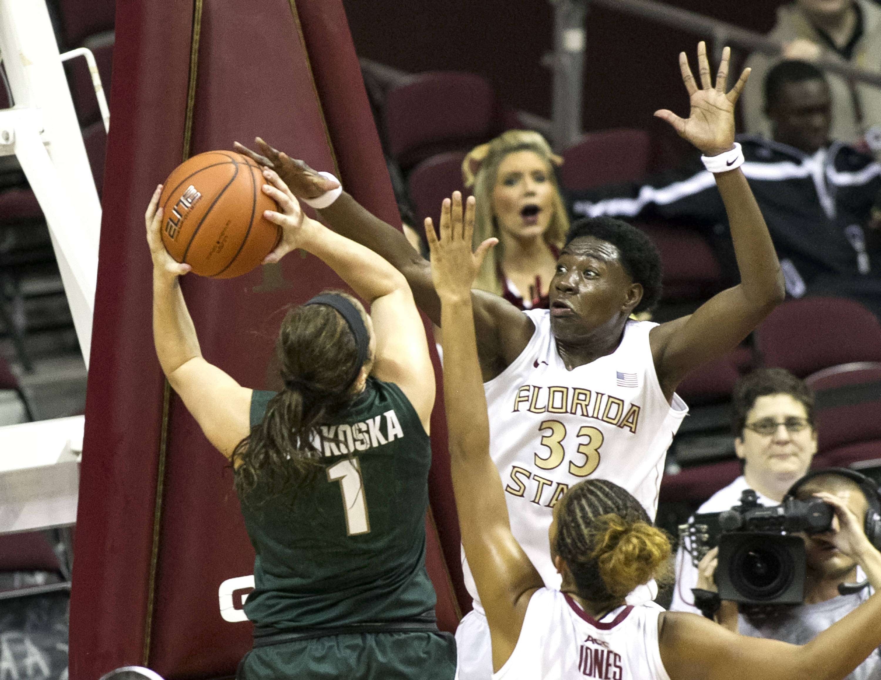 Natasha Howard (33), with a block, FSU vs Michigan State, 12-04-13,  (Photo by Steve Musco)