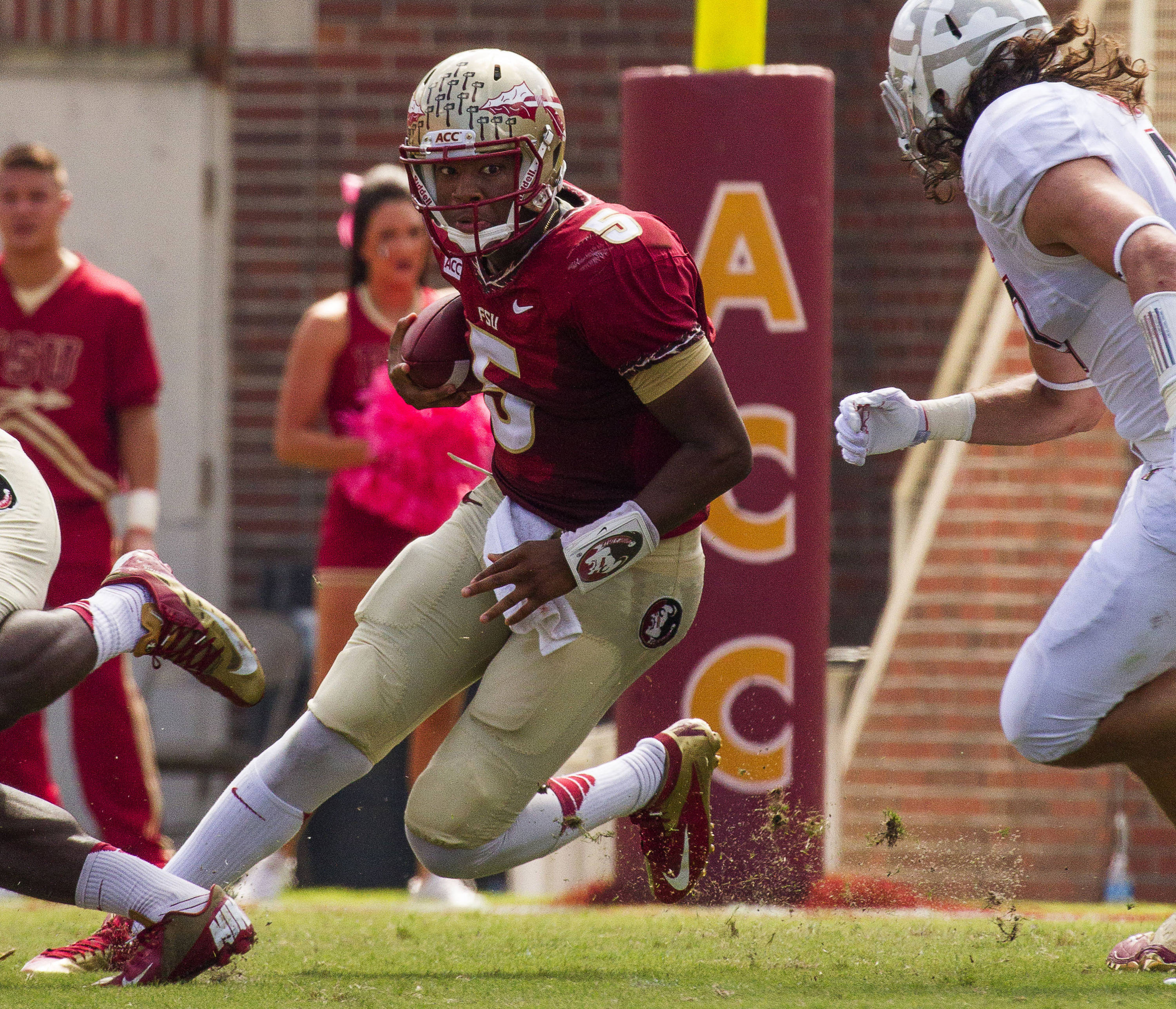 Jameis Winston (5) runs the ball during FSU Football's 63-0 shutout of Maryland on Saturday, October 5, 2013 in Tallahassee, Fla.