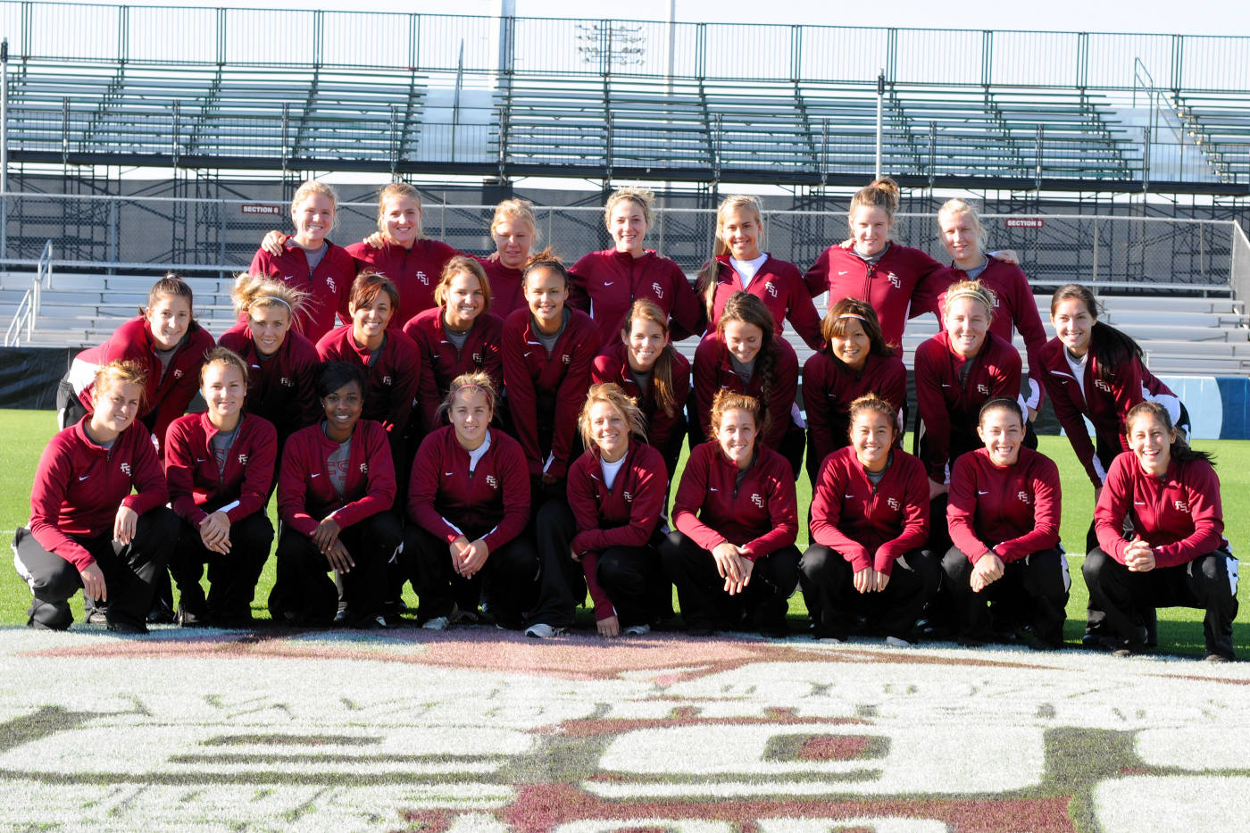 2007 College Cup: The FSU squad posing at midfield inside the Aggie Soccer Complex on the campus of Texas A&M