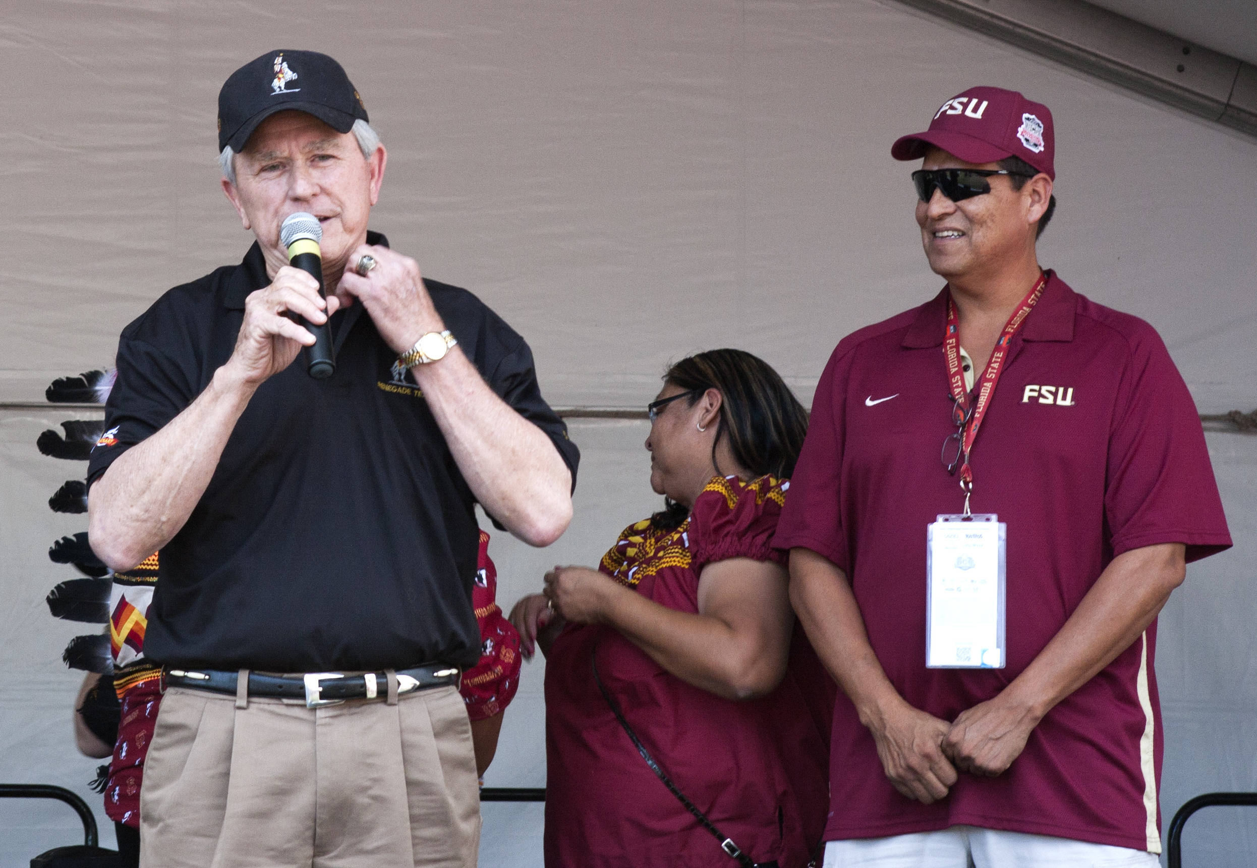 Bill Durham explaining his vision and the how Renegade and Osceola began in 1965. FSU at BCS Championship, Rose Bowl, Pasadena, CA,  1-06-14,  (Photo by Steve Musco)