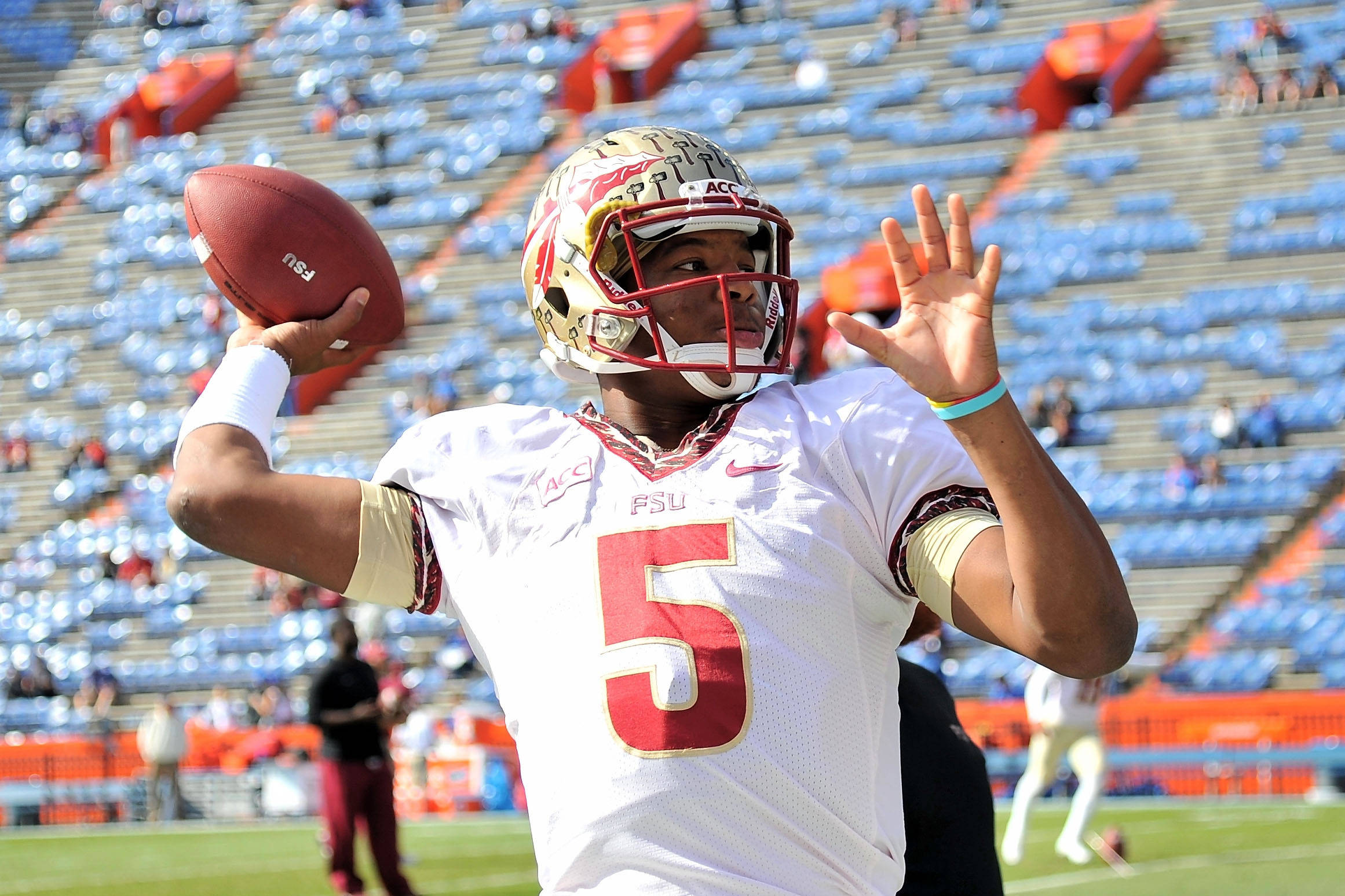 Jameis Winston (5) warms up prior to a game. Mandatory Credit: Steve Mitchell-USA TODAY Sports