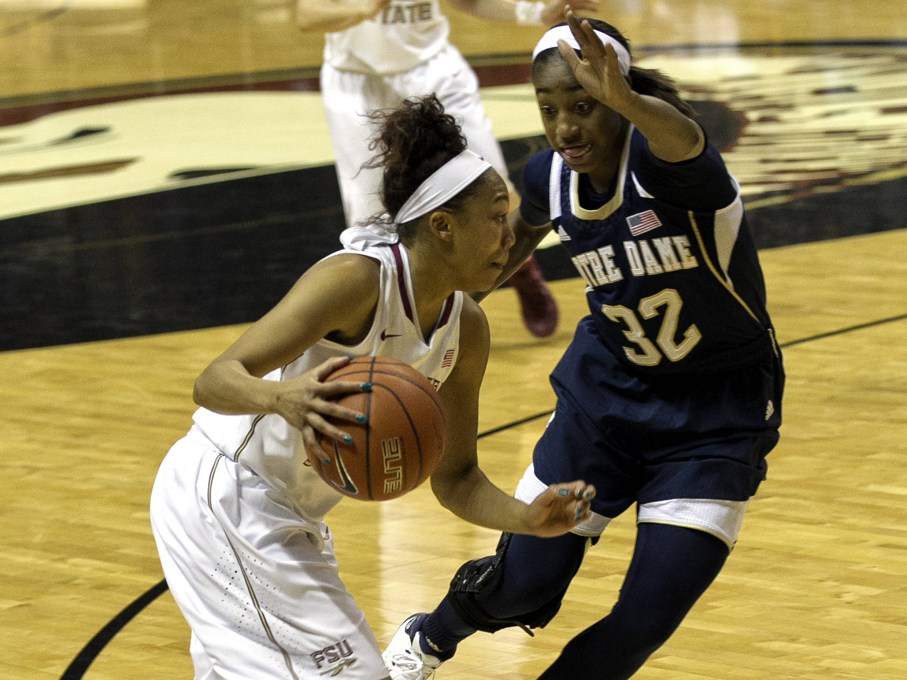 Emaih Bingley (3) on a drive to the basket, FSU vs Notre Dame, 2-06-14, (Photo's by Steve Musco)