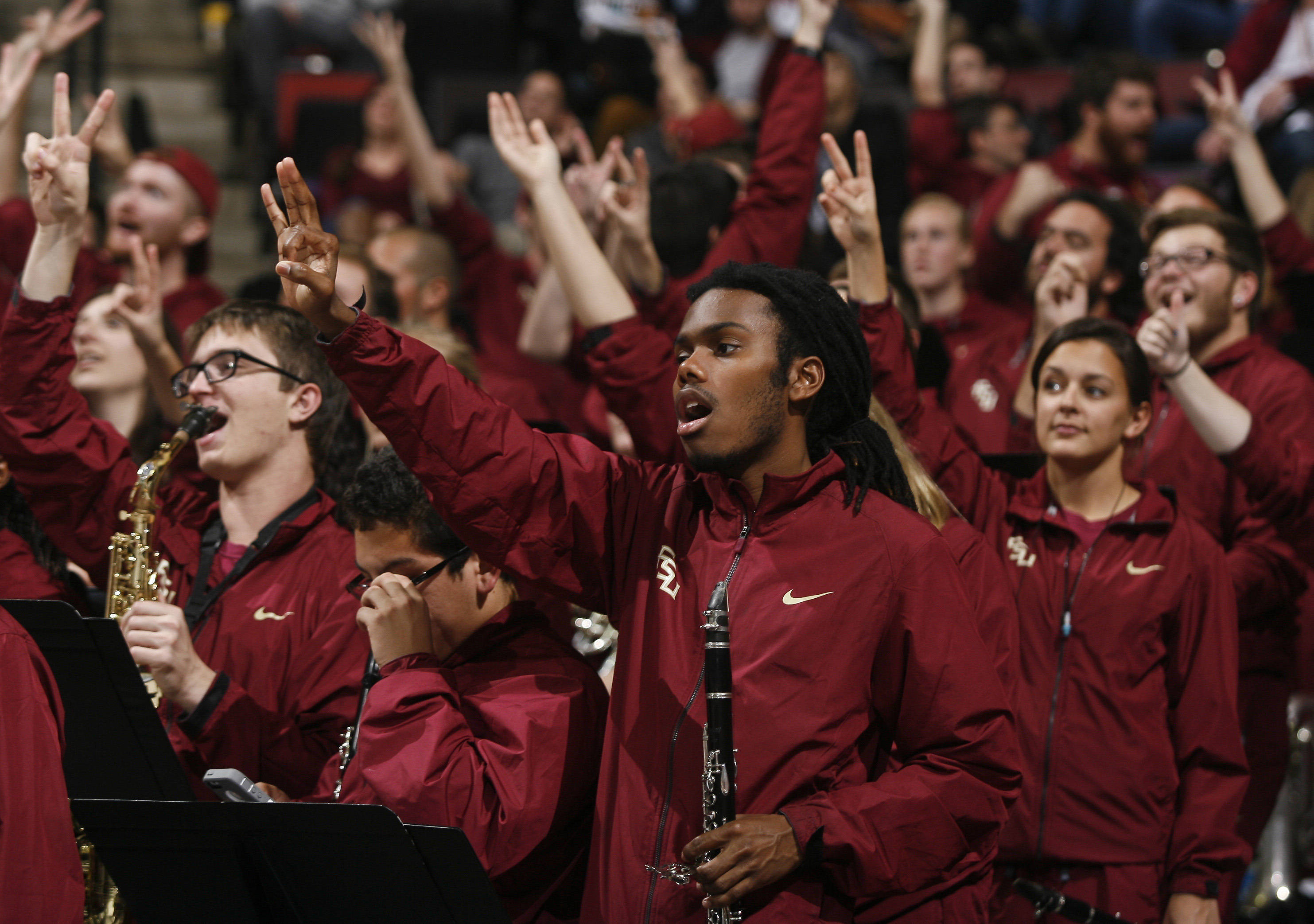 Jan 21, 2014; Tallahassee, FL, USA; The Seminoles pep band Seminoles Sound fires up the fans in the first half. Phil Sears-USA TODAY Sports