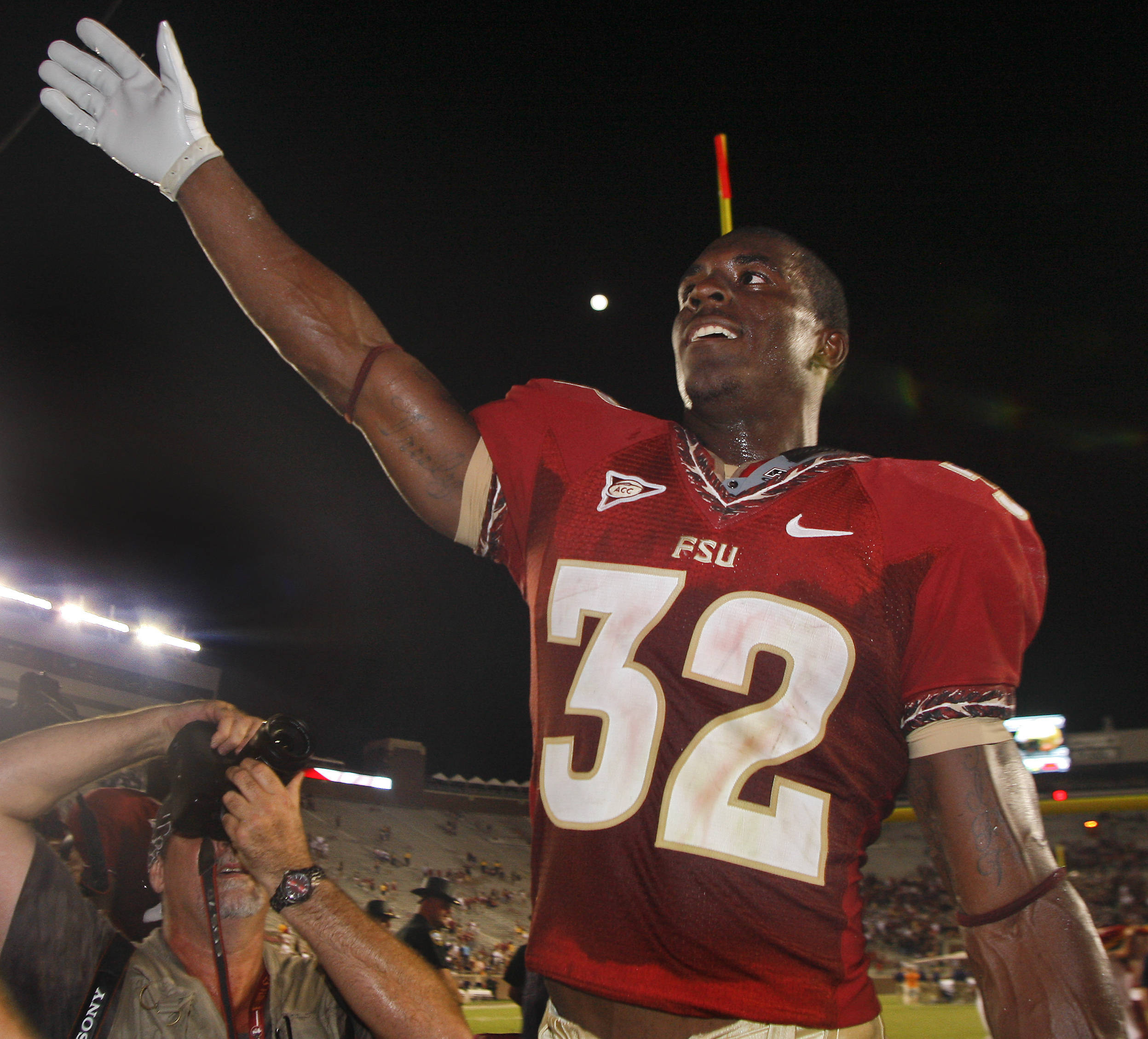 Florida State running back James Wilder Jr. (32) celebrates after an NCAA college football game against Charleston Southern on Saturday, Sept. 10, 2011, in Tallahassee, Fla. FSU won 62-10. (AP Photo/Phil Sears)