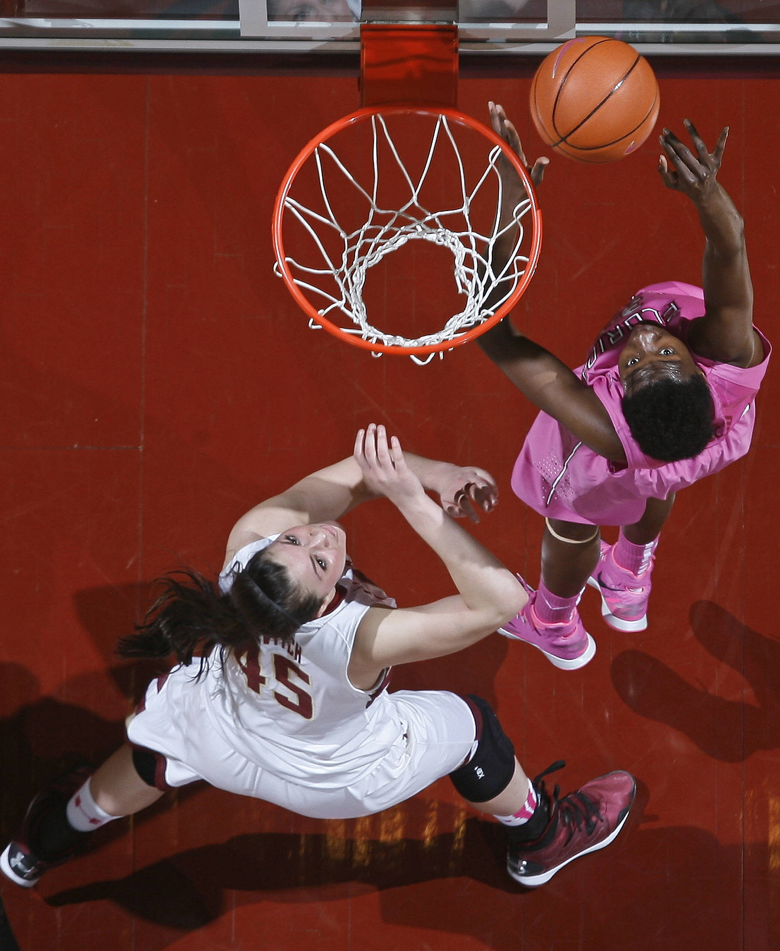 Florida State Seminoles forward Natasha Howard (33) shoots the ball in front of Boston College Eagles forward/center Katie Zenevitch (45). Mandatory Credit: Phil Sears-USA TODAY Sports