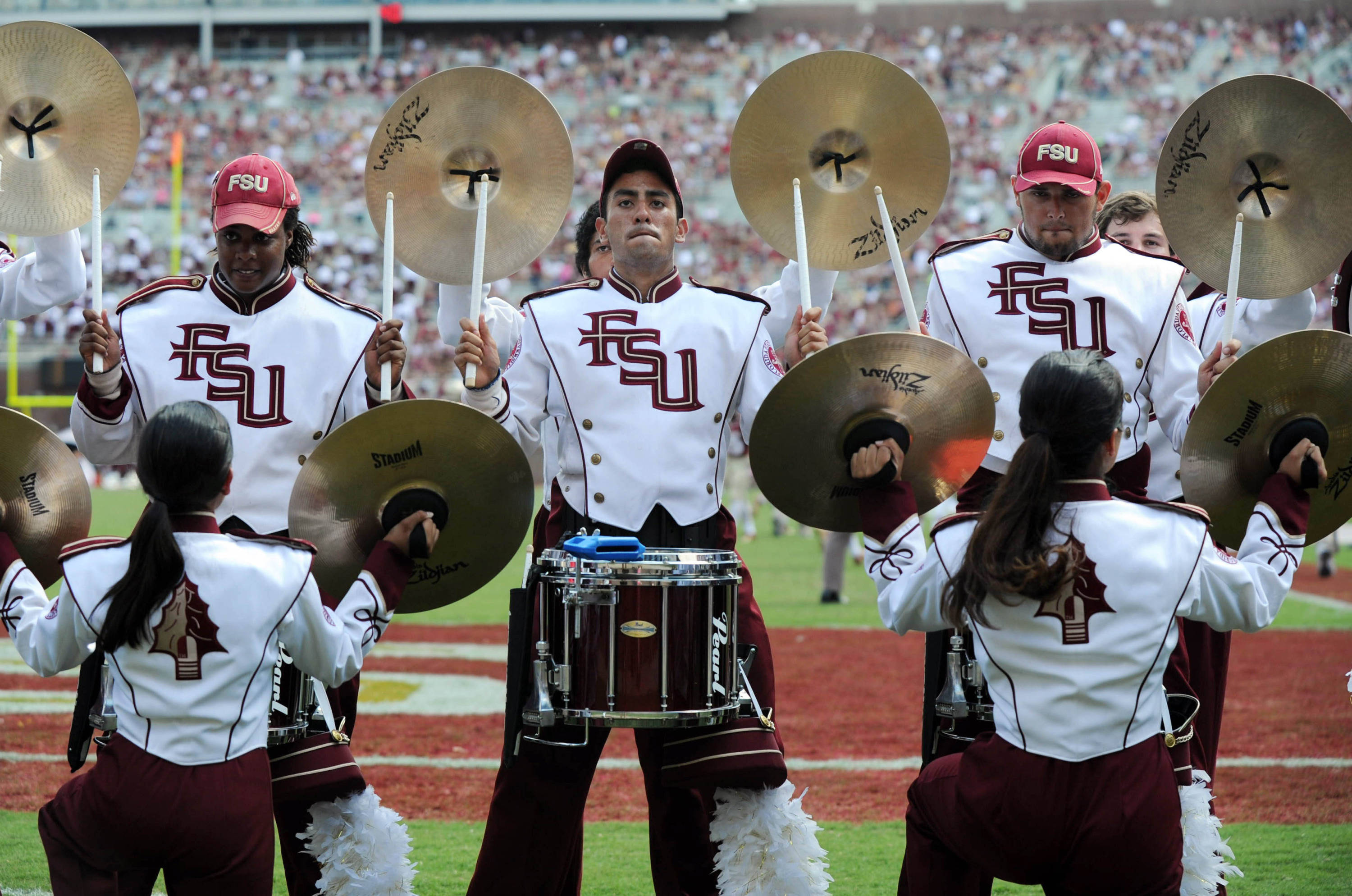 Oct 5, 2013; Tallahassee, FL, USA; Florida State Seminoles drumline Big-8 performs during the game against the Maryland Terrapins at Doak Campbell Stadium. Mandatory Credit: Melina Vastola-USA TODAY Sports
