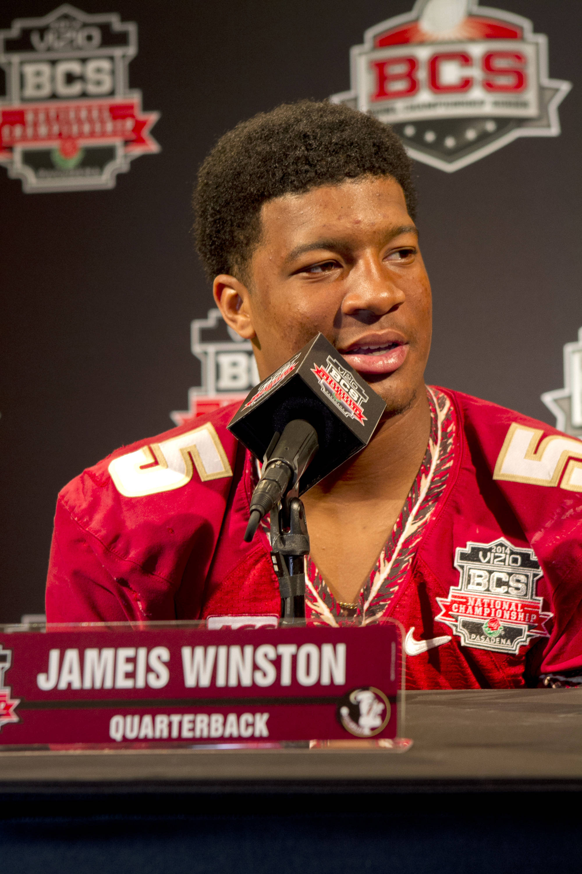 Jameis Winston (5), FSU at BCS Championship Media Day,  1-04-14,  (Photo by Steve Musco)