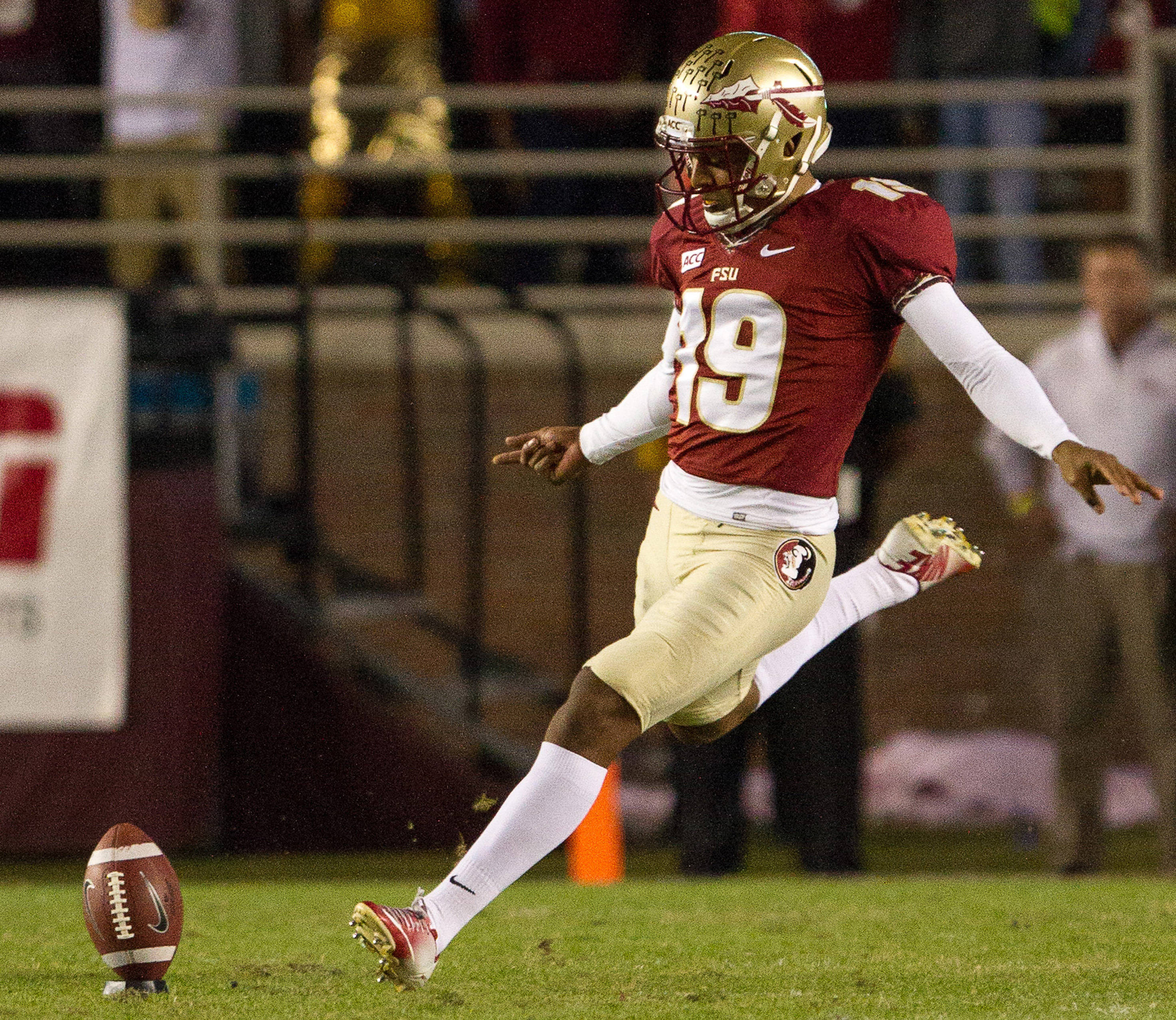 Roberto Aguayo (19) kicks off during FSU football's 41-14 win over Miami on Saturday, November 2, 2013 in Tallahassee, Fla. Photo by Michael Schwarz.