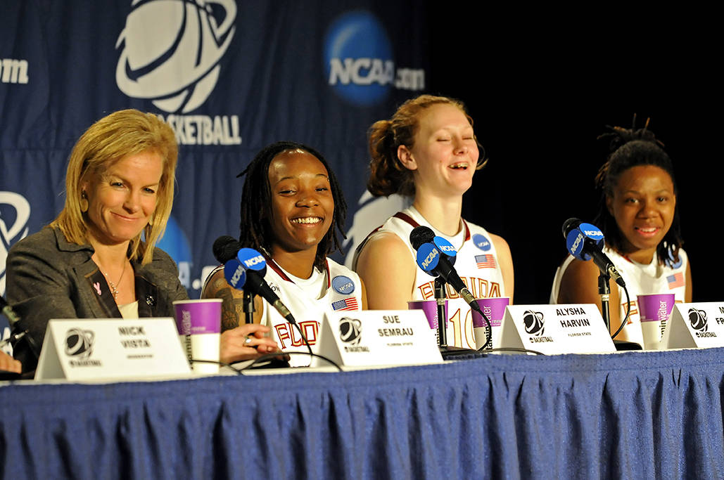 Head coach Sue Semrau, Alysha Harvin, Mara Freshour and Tanae Davis-Cain met with the media after the win.