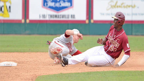 Marcus Davis slides in safely at second base