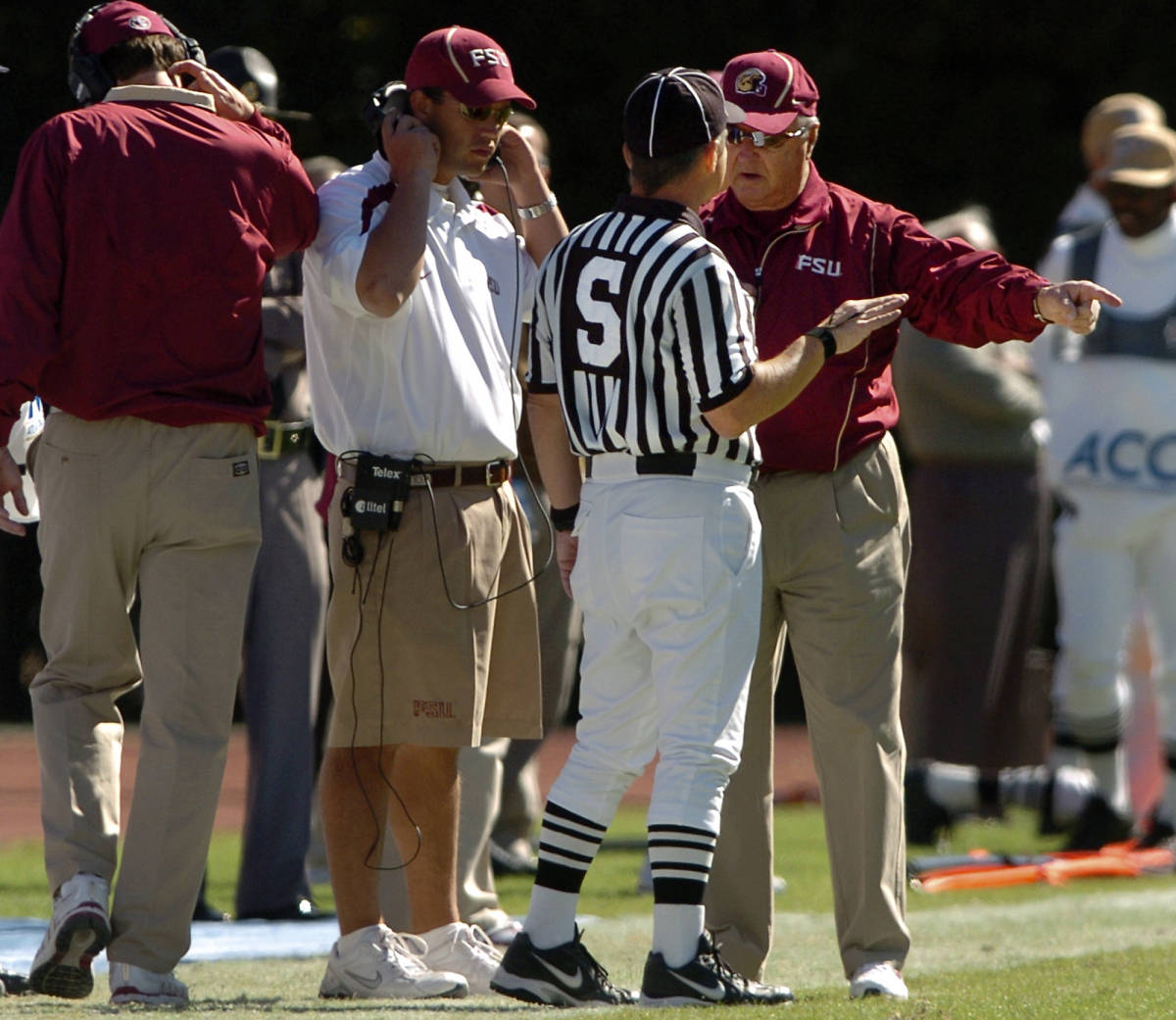 Florida State coach Bobby Bowden, right, discusses a call with side judge Mike Safrit during the first half of a college football game against Duke, Saturday, Oct. 14, 2006, in Durham, N.C. Florida State won 51-24. (AP Photo/Sara D. Davis)