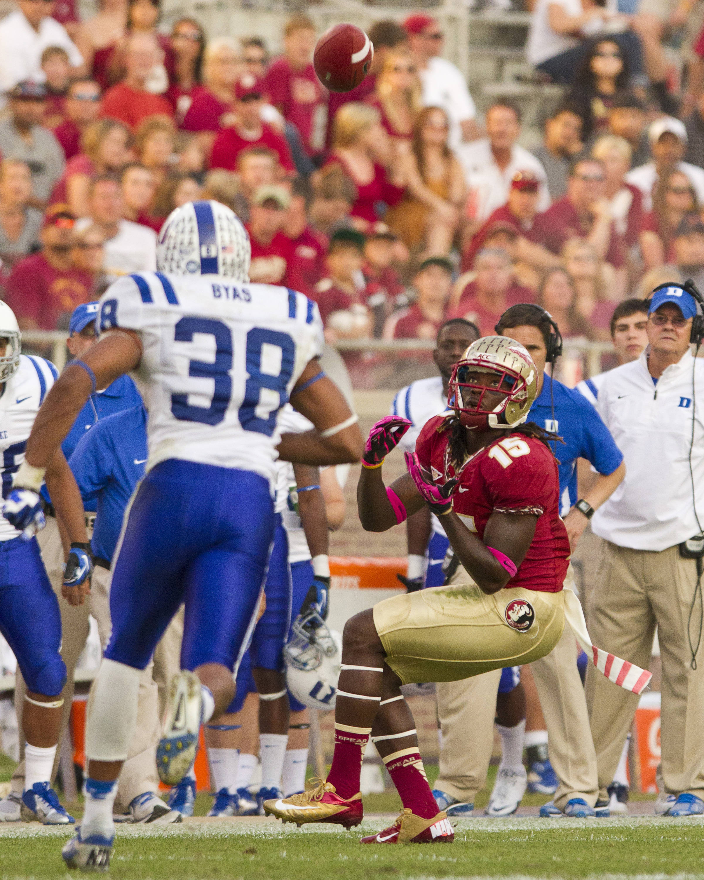 Greg Dent (15) makes a reception during FSU's 48-7 victory over Duke on October 27, 2012 in Tallahassee, Fla.