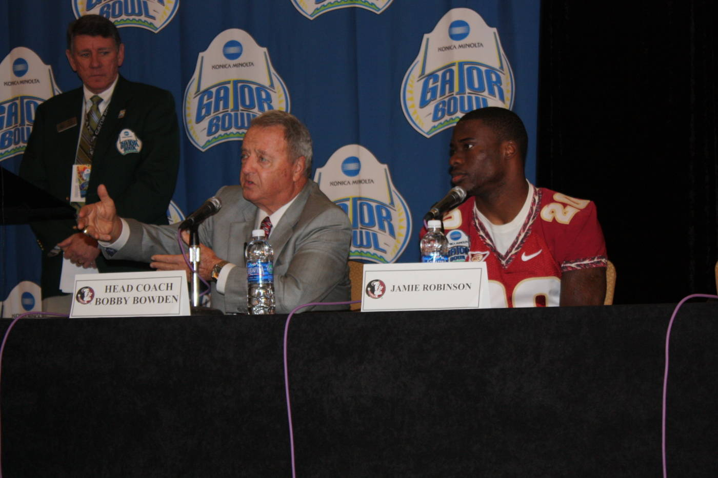 FSU head coach Bobby Bowden and Jamie Robinson at the Gator Bowl coaches and players press conference at the Hyatt in Jacksonville.