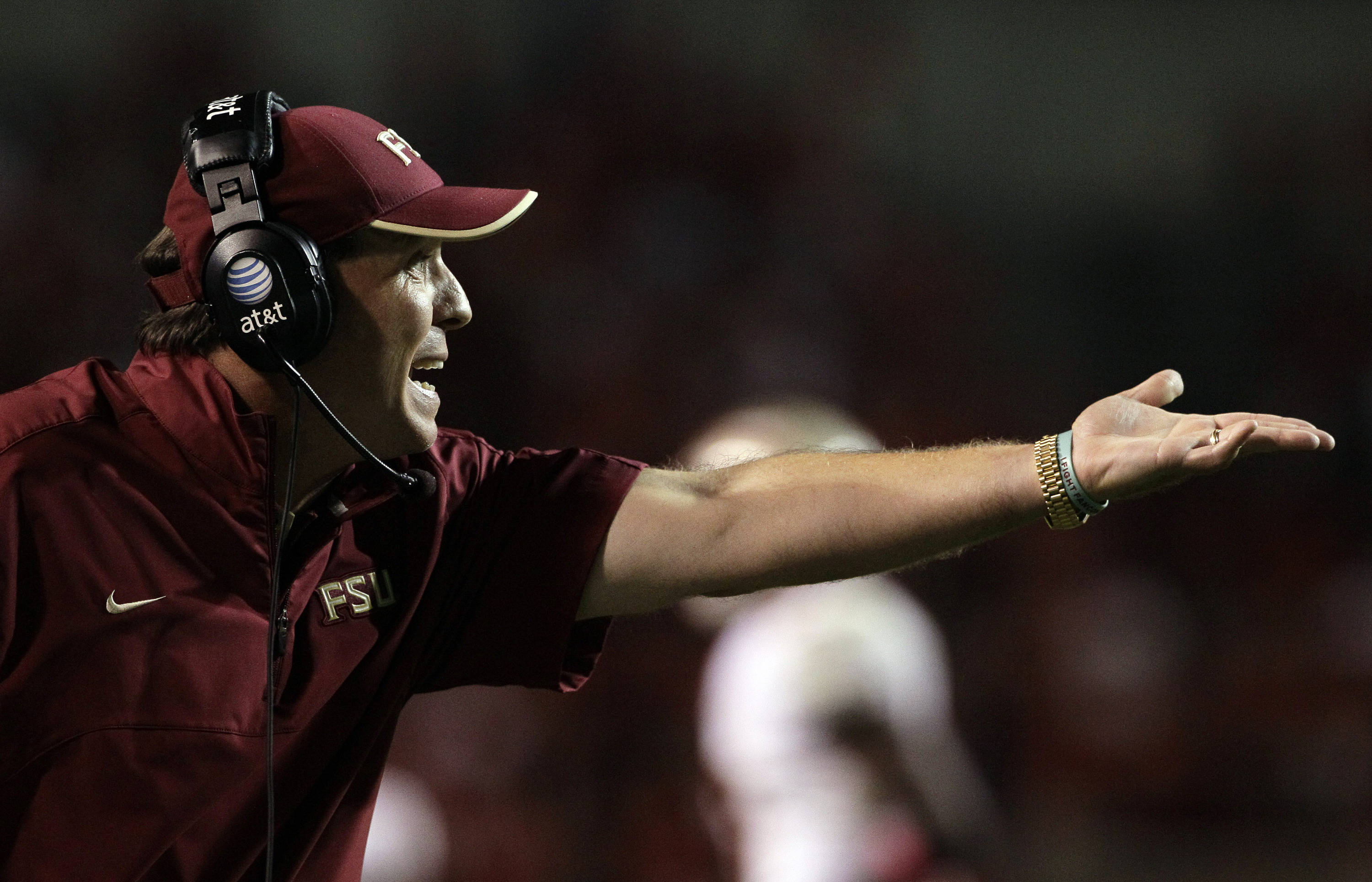 Florida State coach Jimbo Fisher gestures during the second half. (AP Photo/Gerry Broome)