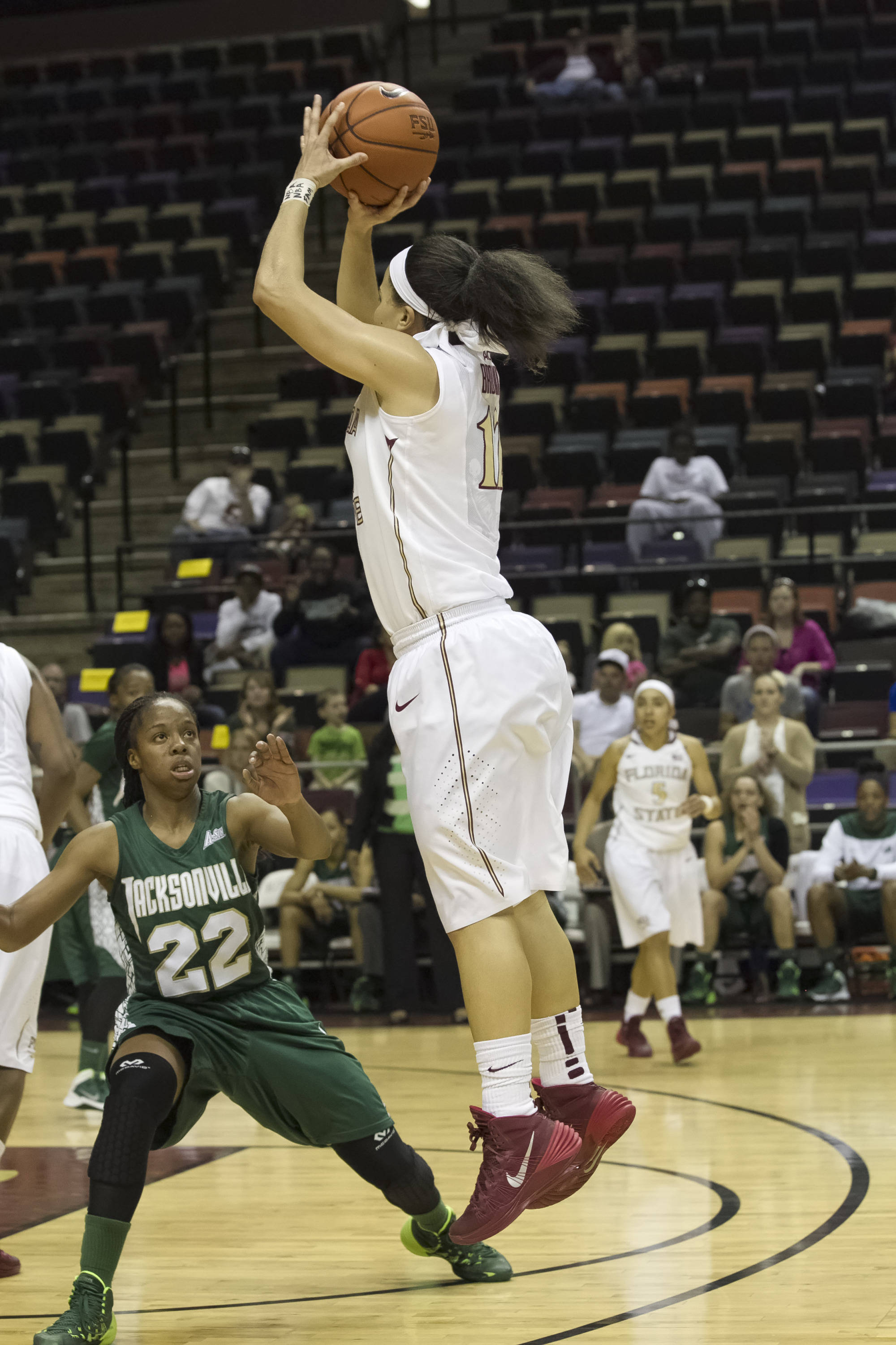 Brittany Brown (12), with a three pointer, FSU vs Jacksonville, 12-08-13,  (Photo by Steve Musco)