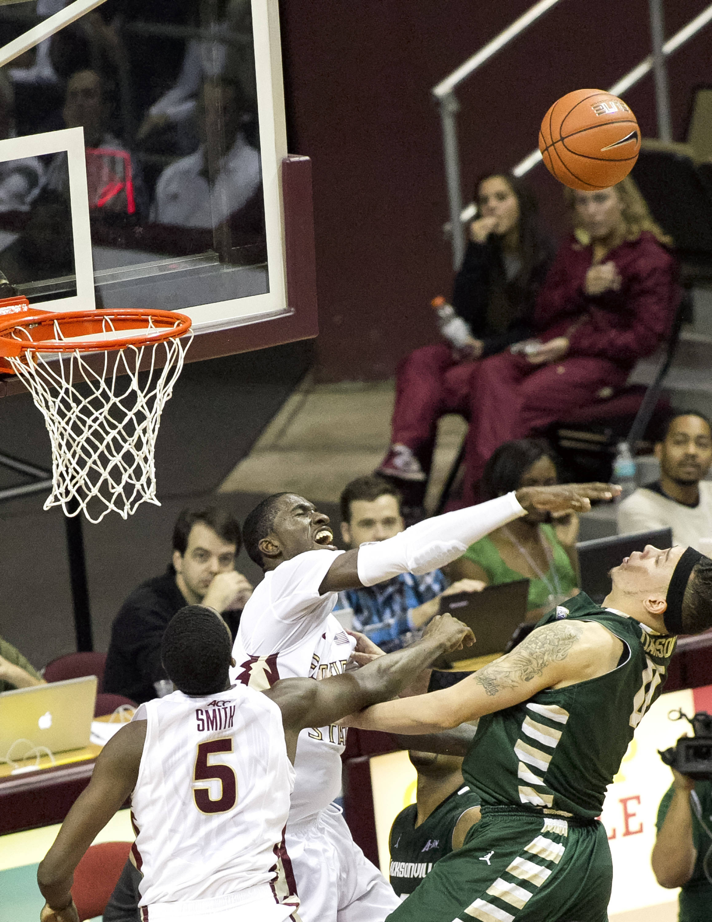 Okaro White, Jarquez Smith (5), FSU vs Jacksonville,  11-8-13, (Photo by Steve Musco)