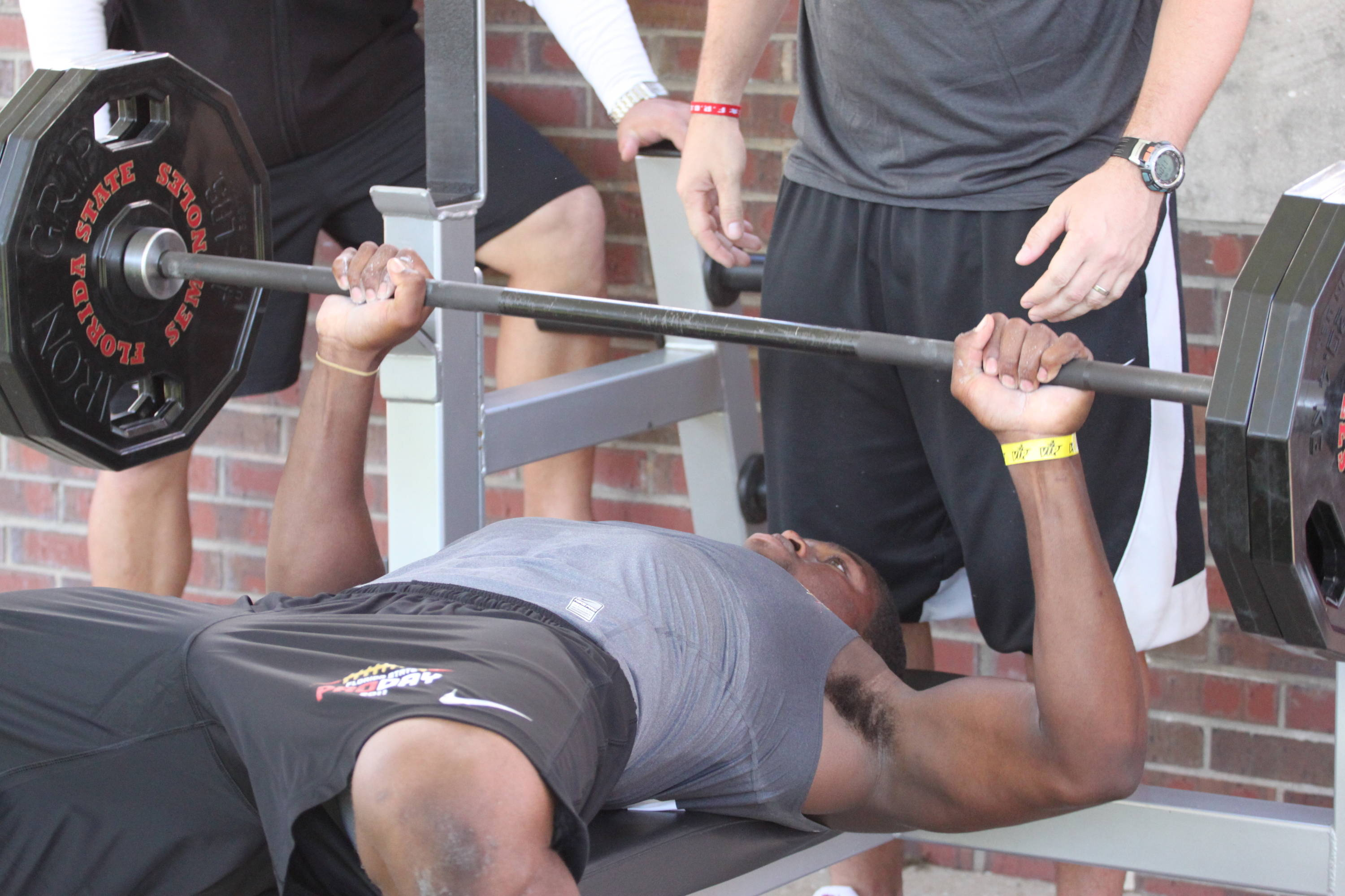 Mister Alexander on the bench press with 225 lbs. on the bar.