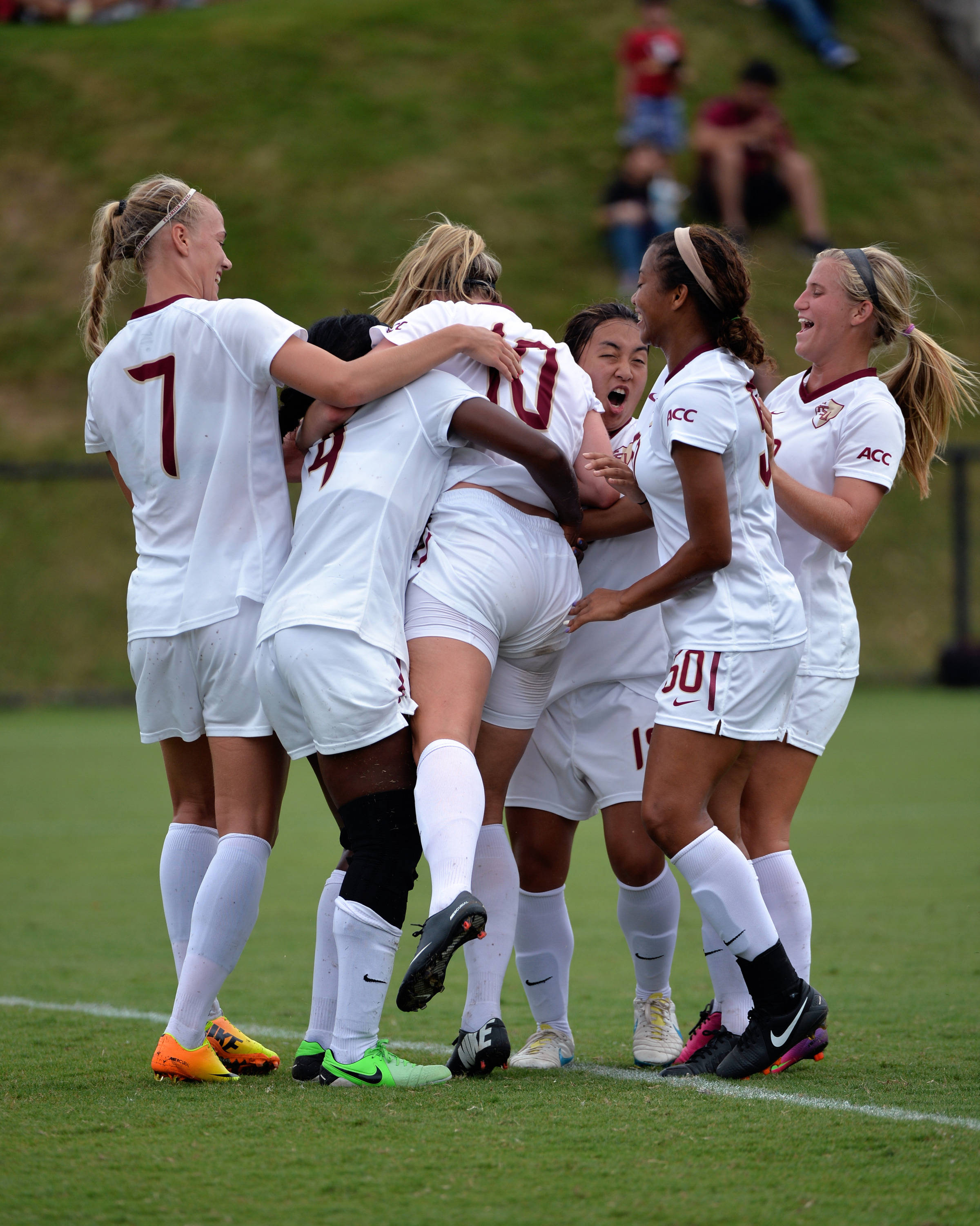 The Seminoles celebrate after scoring a goal against Auburn.