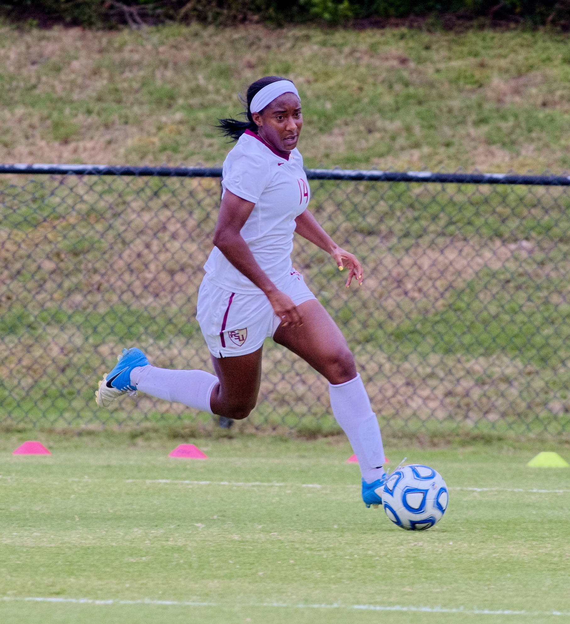 Tiffany McCarty (14), FSU vs BC, ACC Tournament, 10/28/12. (Photo by Steve Musco)