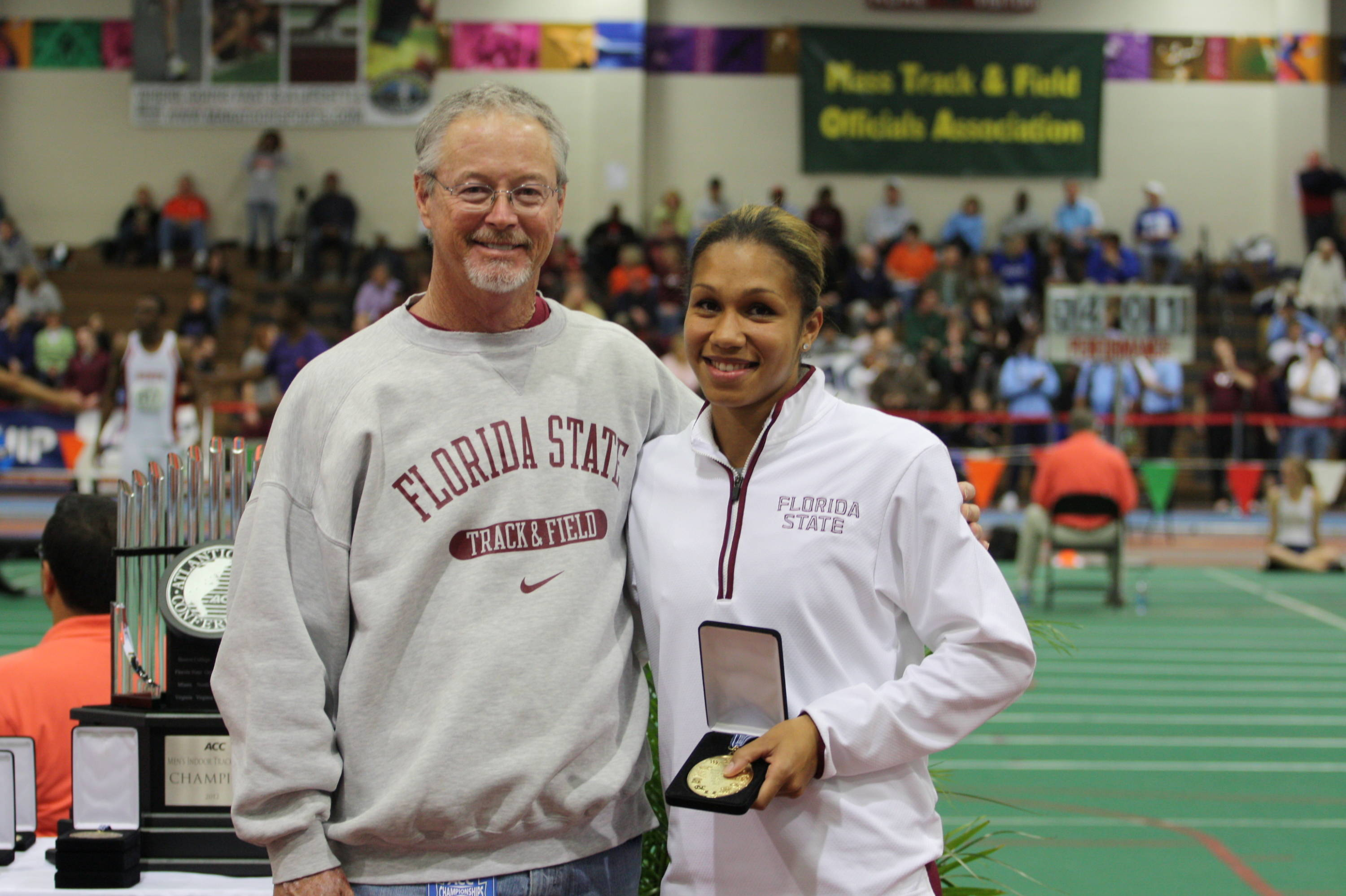 then joined FSU assistant Dennis Nobles, who saw his Seminole men and women sweep the long jump Friday.