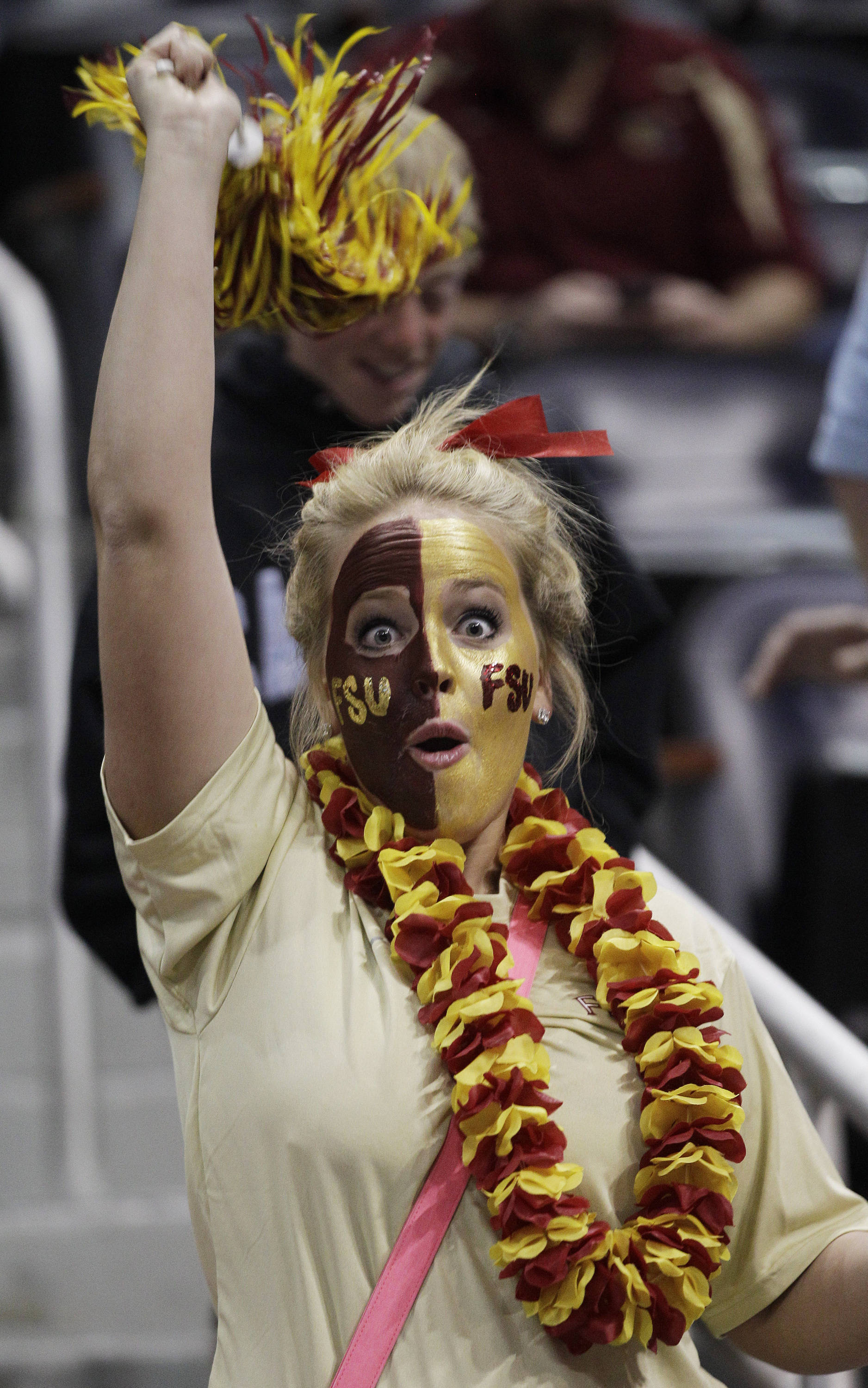 A Florida State fan cheers. (AP Photo/Chuck Burton)