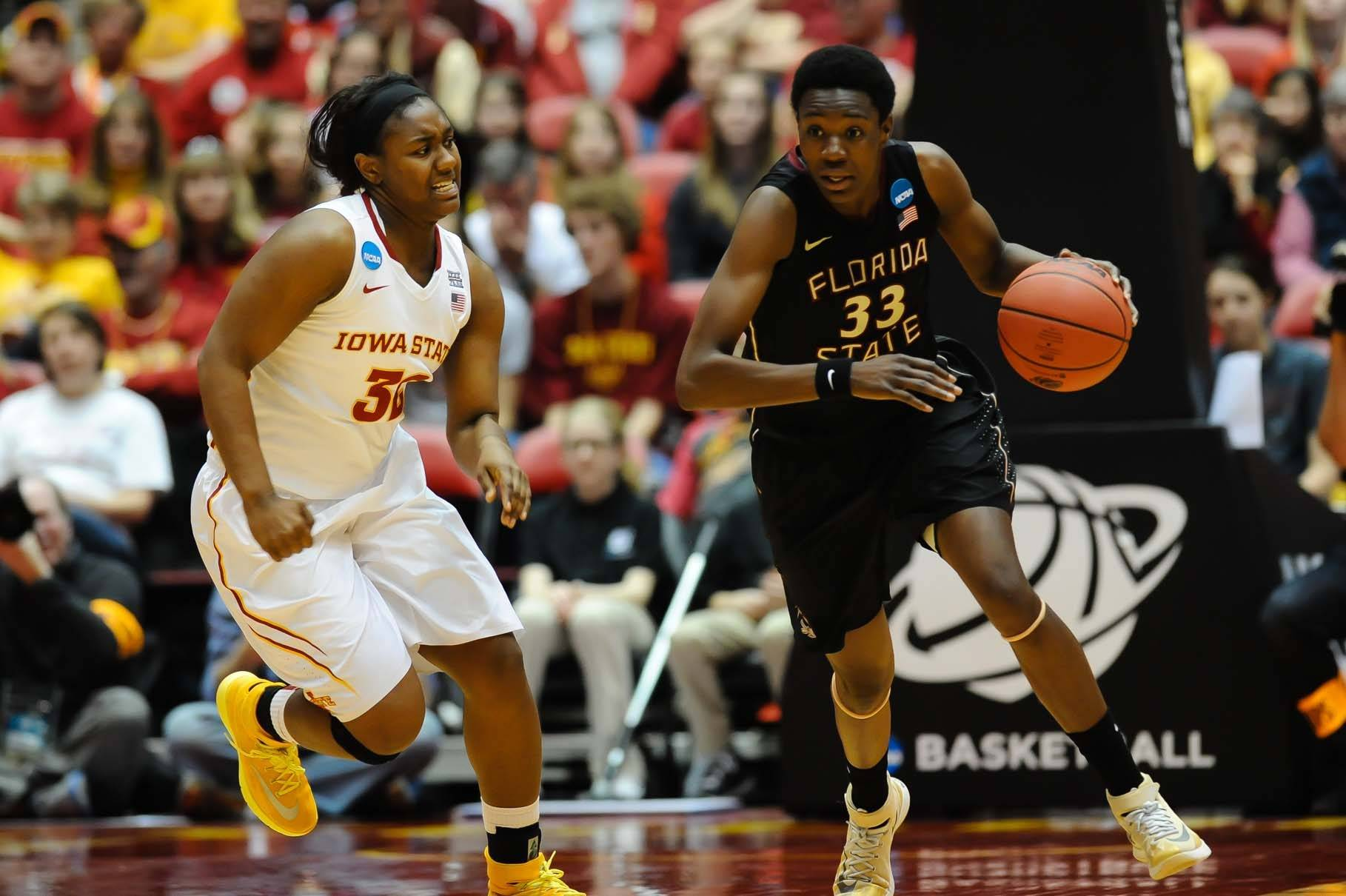 Mar 22, 2014; Ames, IA, USA; Florida State Seminoles forward Natasha Howard (33) drives up the court against the Iowa State Cyclones in the second half of a women's college basketball game. Mandatory Credit: Steven Branscombe-USA TODAY Sports