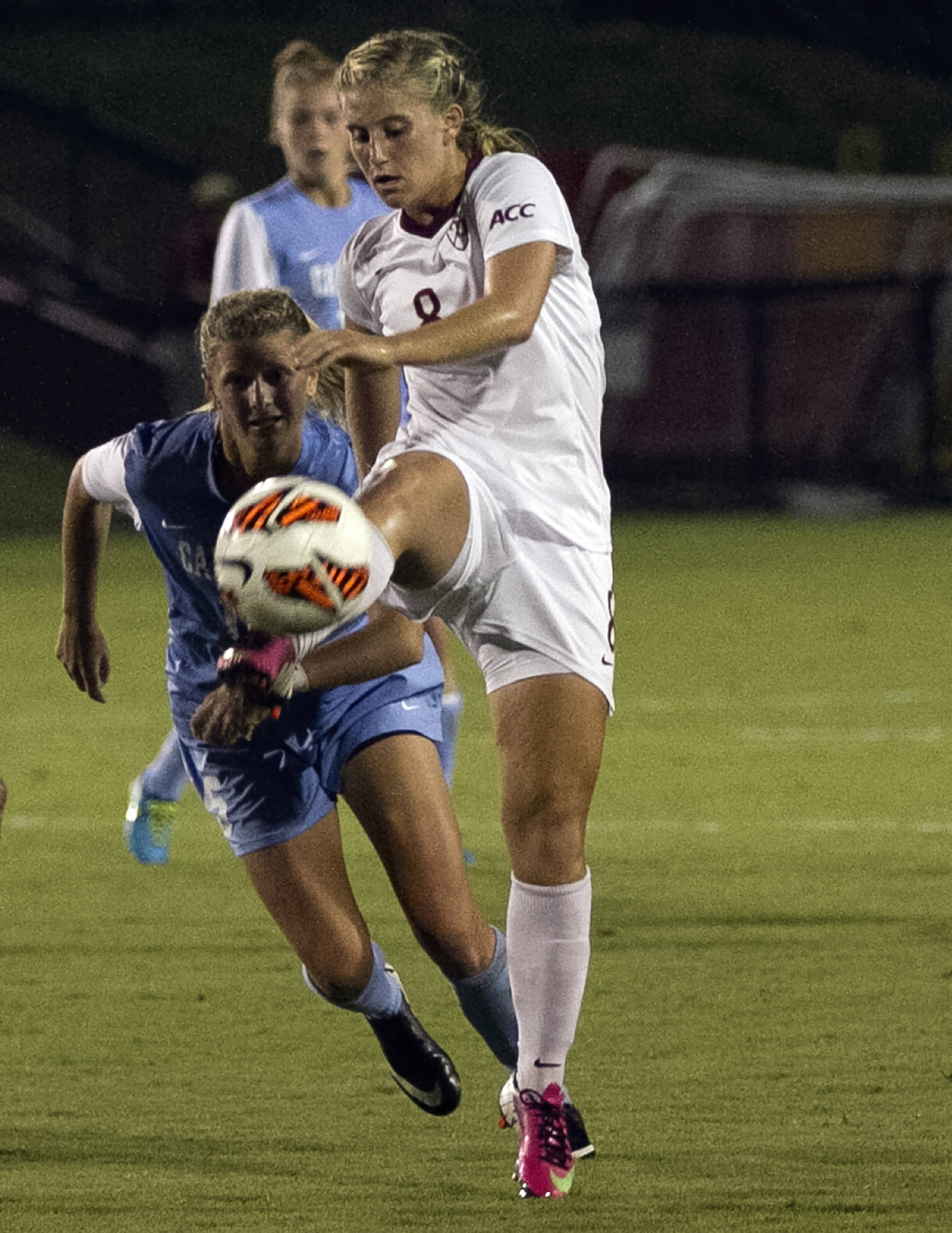 Michaela Hahn, FSU vs North Carolina,  9-18-13, (Photo by Steve Musco)
