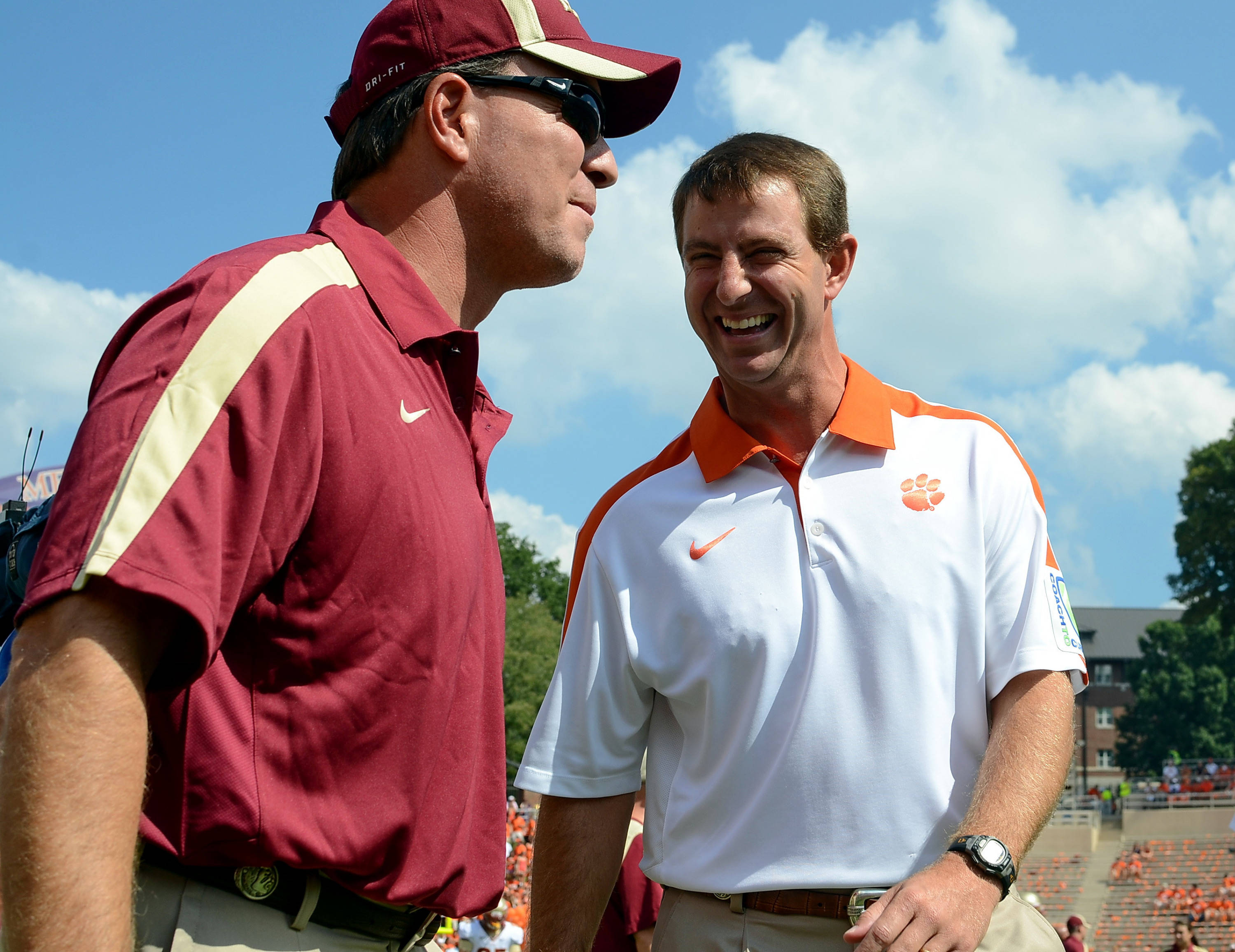 Florida State head coach Jimbo Fisher, left, and  Clemson head coach Dabo Swinney talk before the start of an NCAA college football game, Saturday, Sept. 24, 2011, at Memorial Stadium in Clemson, S.C.  (AP Photo/ Richard Shiro)