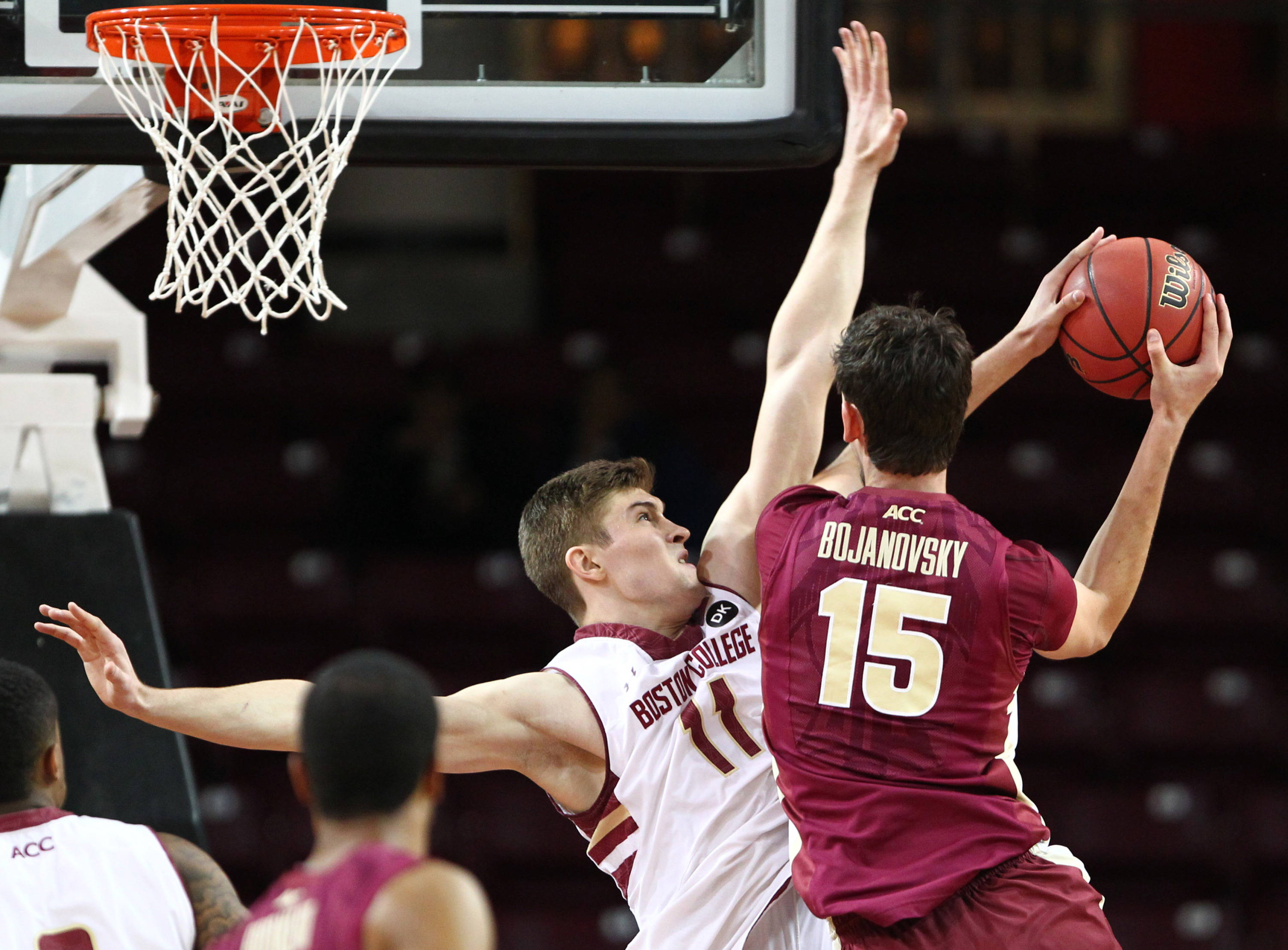 Mar 4, 2014; Chestnut Hill, MA, USA; Seminoles center Boris Bojanovsky (15) shoots the ball against Boston College Eagles forward Will Magarity (11) during the second half. Mark L. Baer-USA TODAY Sports