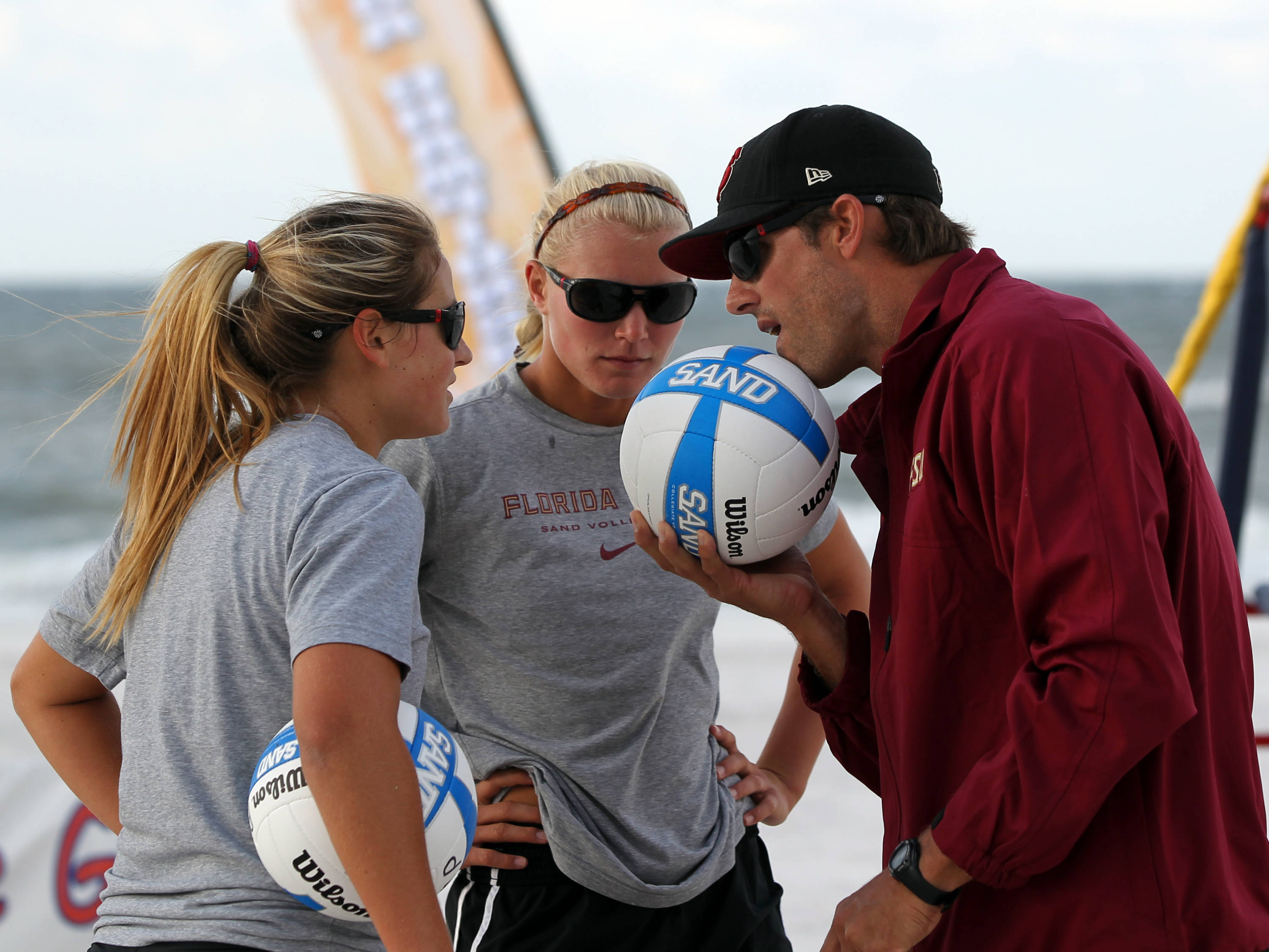 Melanie Pavels, Julie Brown, Assistant Coach Brian Corso, AVCA Collegiate Sand Volleyball National  Championships - Pairs,  Gulf Shores, Alabama, 05/05/13 . (Photo by Steve Musco)