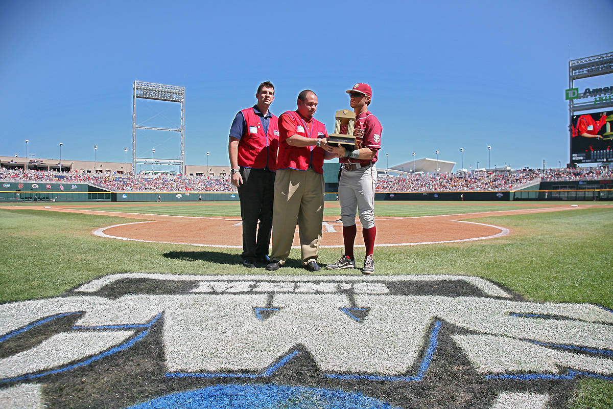 James Ramsey, the recipient of the 2012 Lowe's Senior CLASS Award in baseball, receives the award before the start of Thursday's game against Arizona.